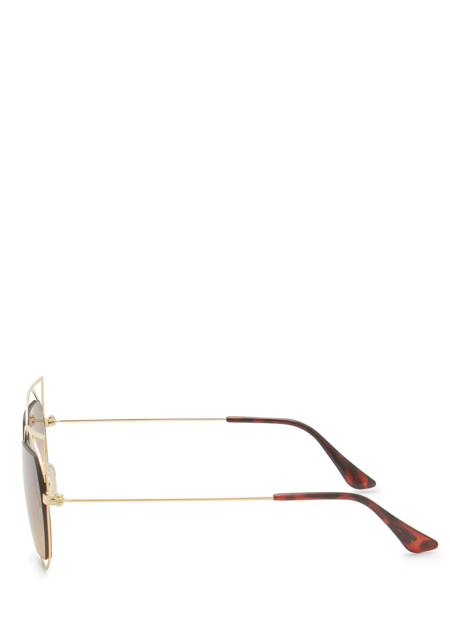 Geometric Lines Cat Eye Sunglasses GOLDBROWN