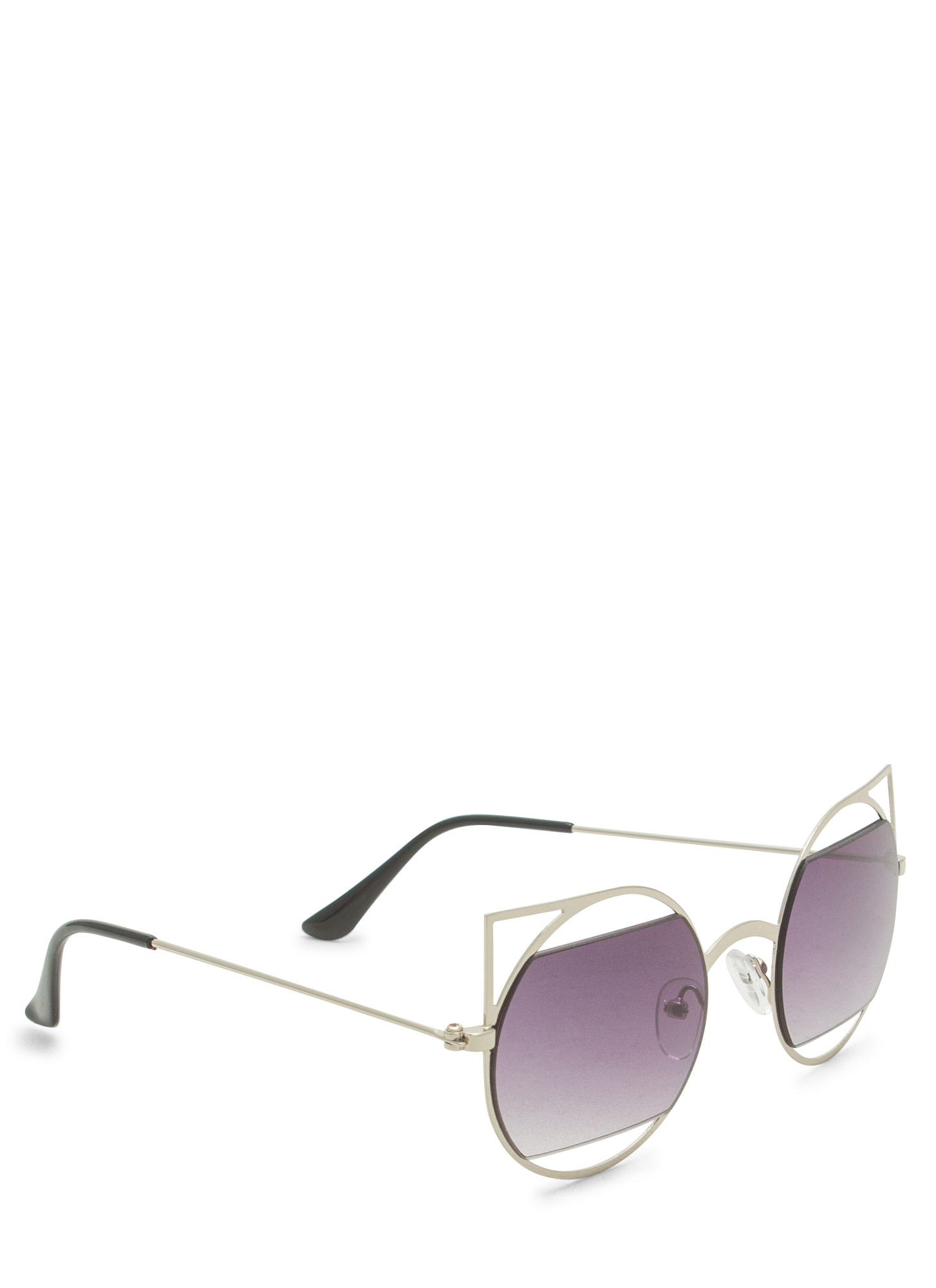 Geometric Lines Cat Eye Sunglasses SILVERCHAR