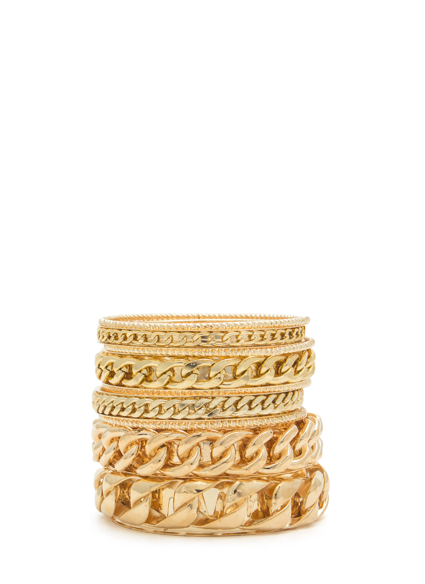 Shiny Textured Chained Bangle Set GOLD