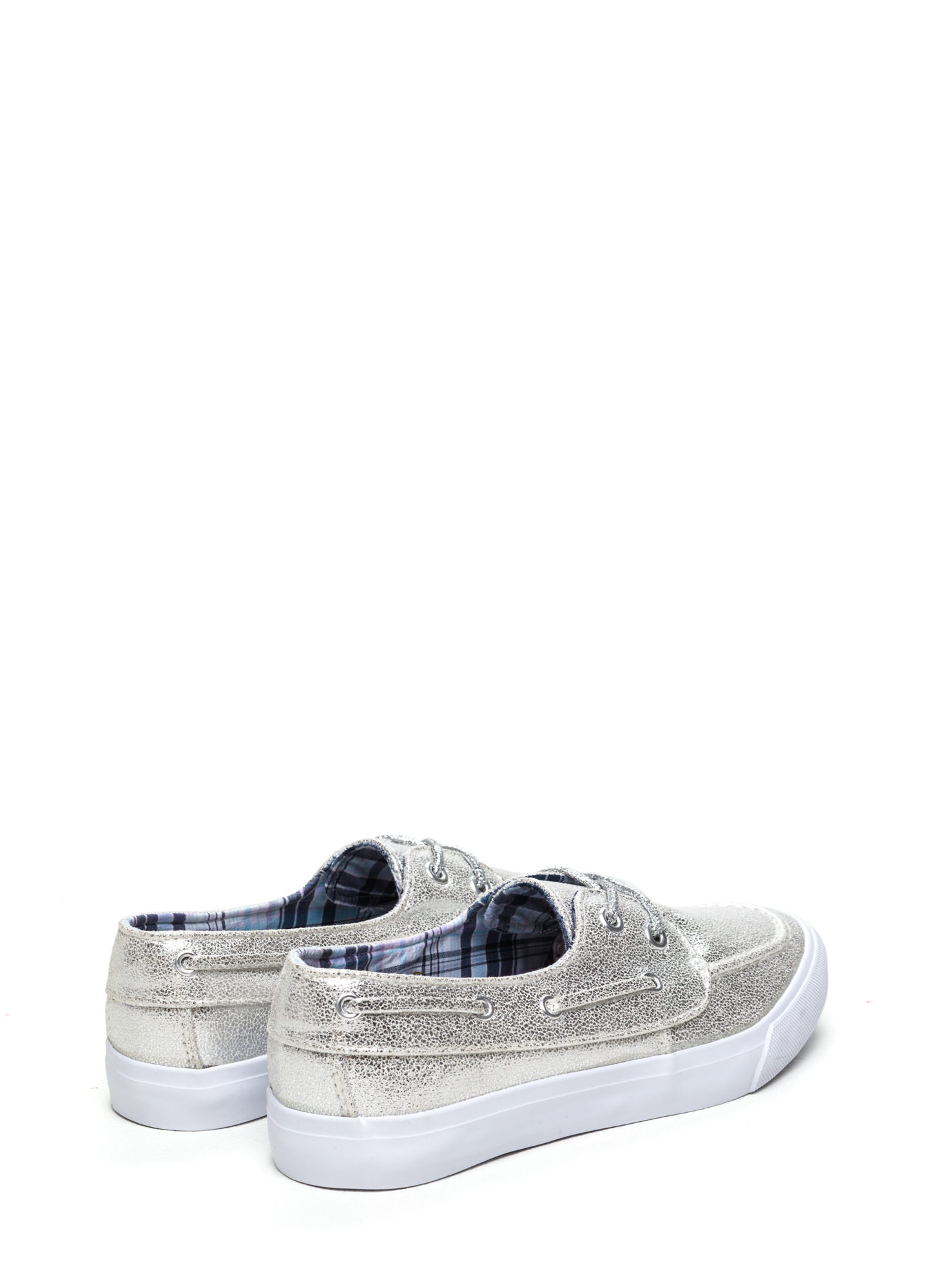 On A Boat Lace-Up Sneakers SILVER