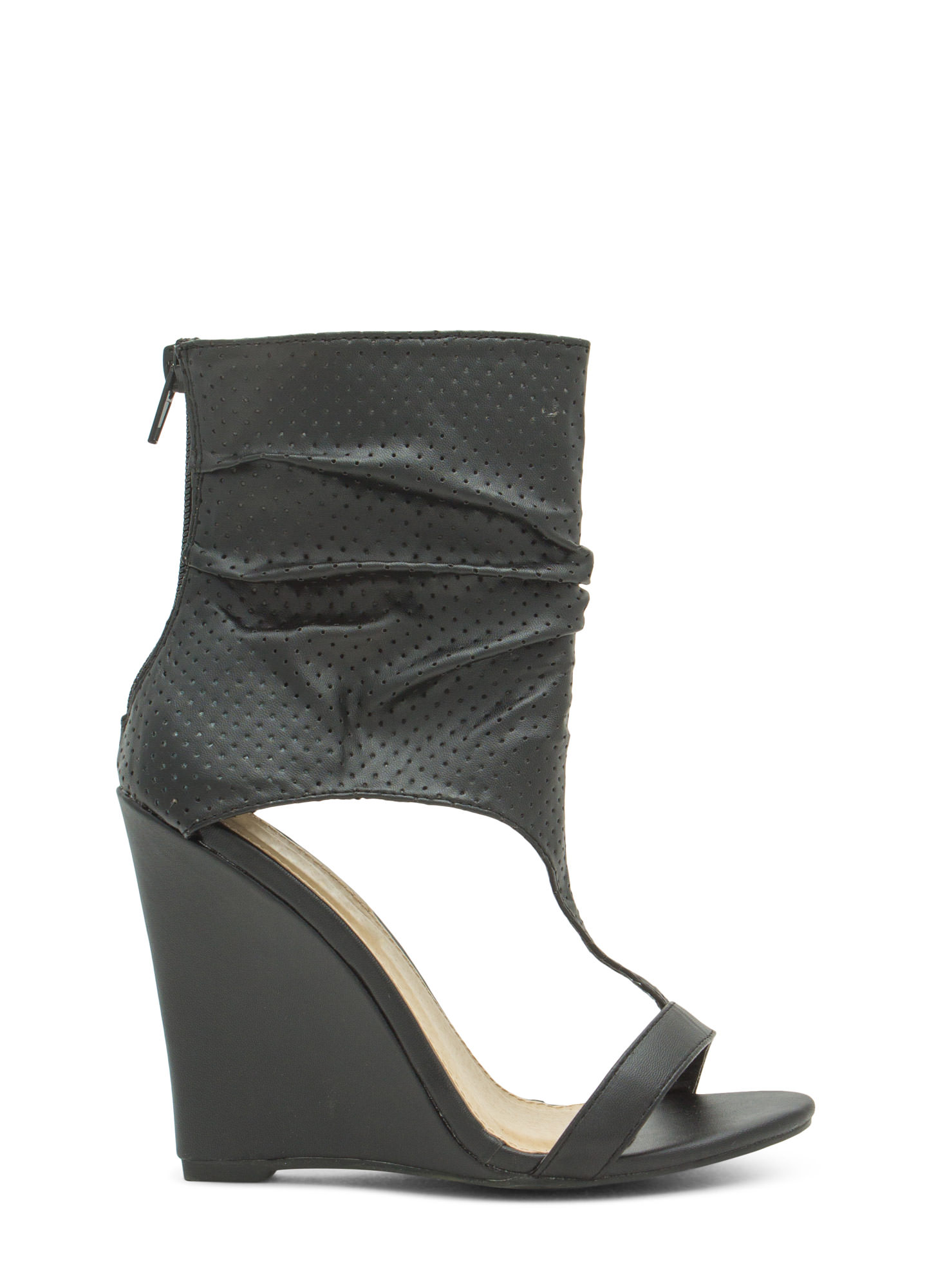 Get The Boot Perforated Slouchy Wedges BLACK