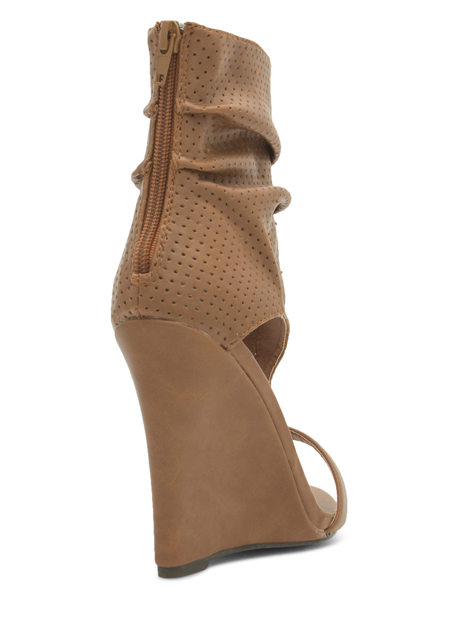 Get The Boot Perforated Slouchy Wedges TAN