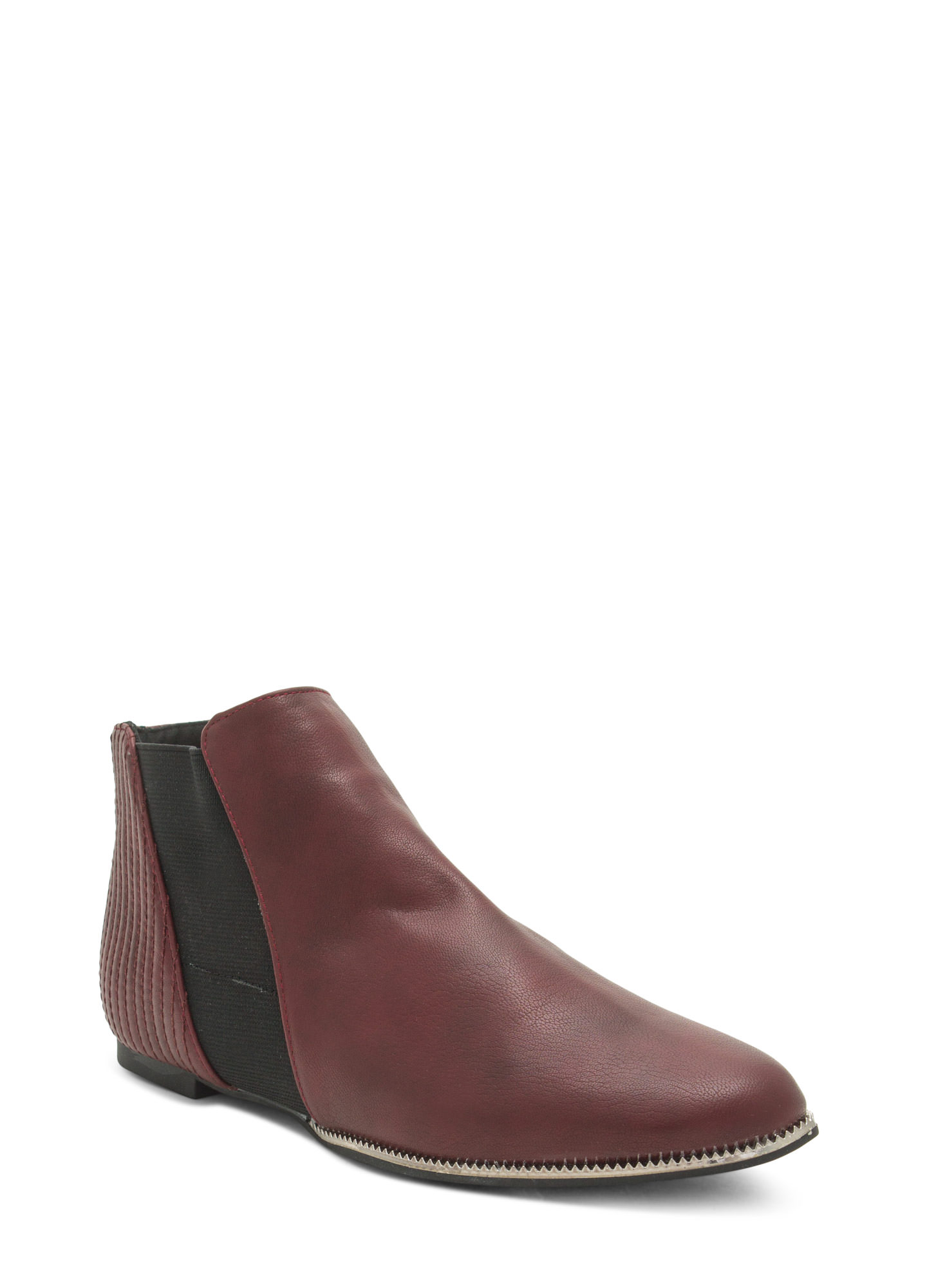 Feelin' Metallic Faux Leather Booties  BURGUNDY