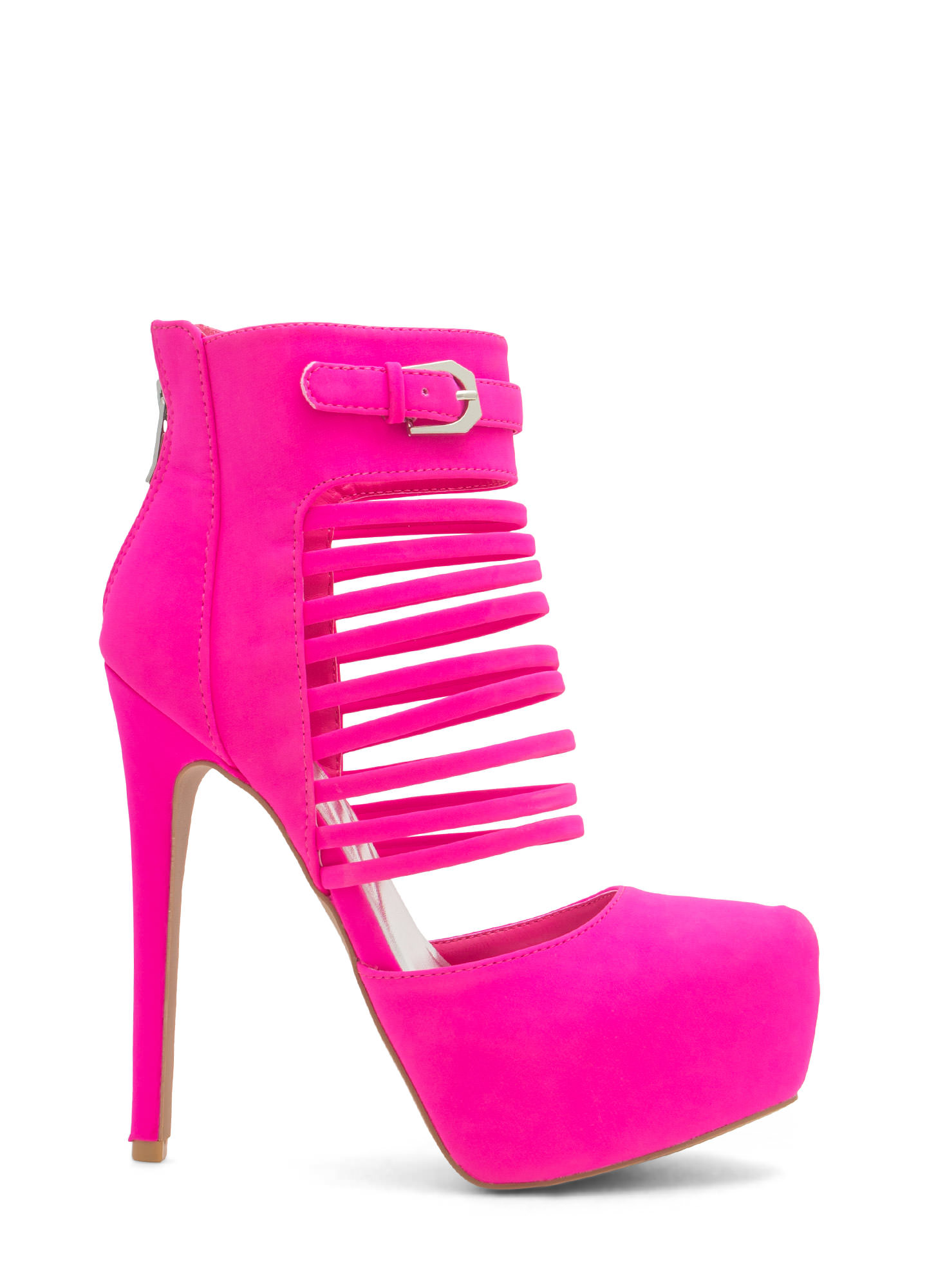 Extra Strap-py D'Orsay Booties HOTPINK