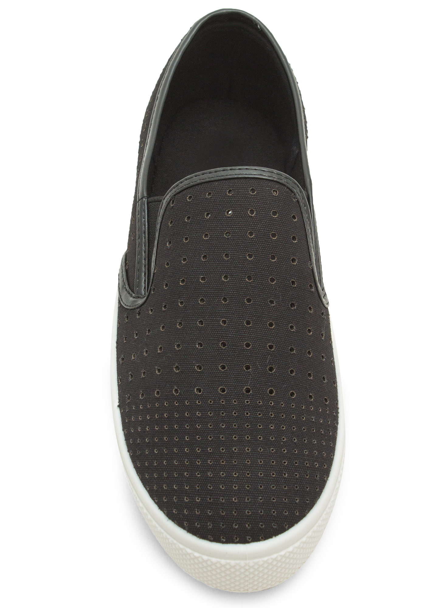 Canvas Perforated Slip-On Sneakers BLACK