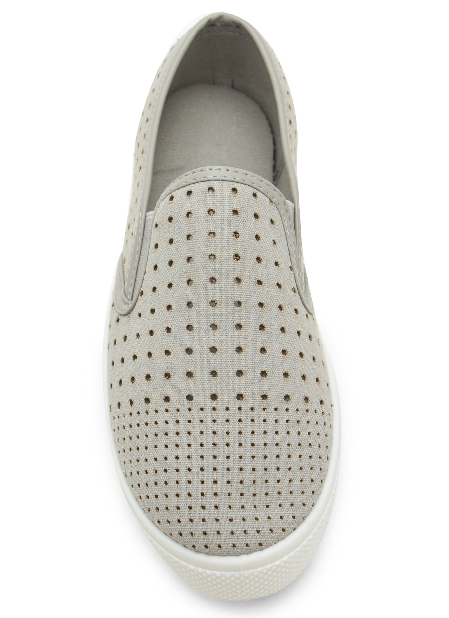 Canvas Perforated Slip-On Sneakers GREY