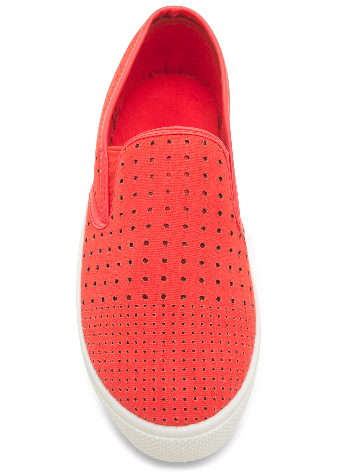 Canvas Perforated Slip-On Sneakers TANGERINE