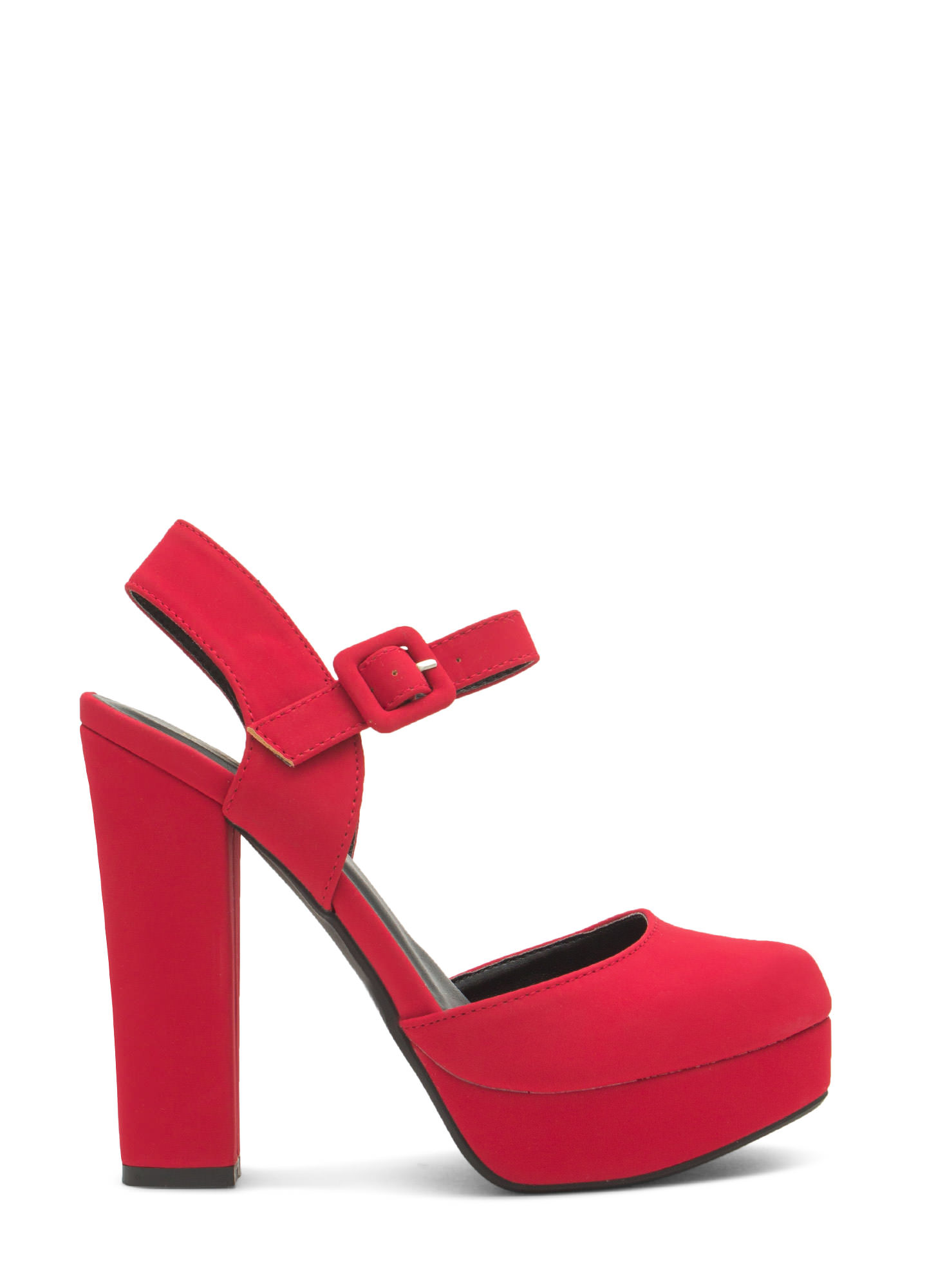 Chunky Funky Ankle Strap Platforms DARKRED