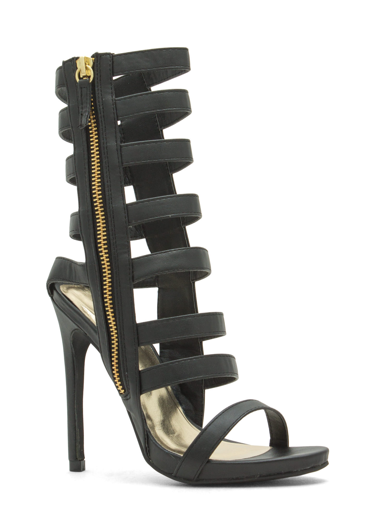 Give The Shaft Strappy Cut-Out Heels BLACK