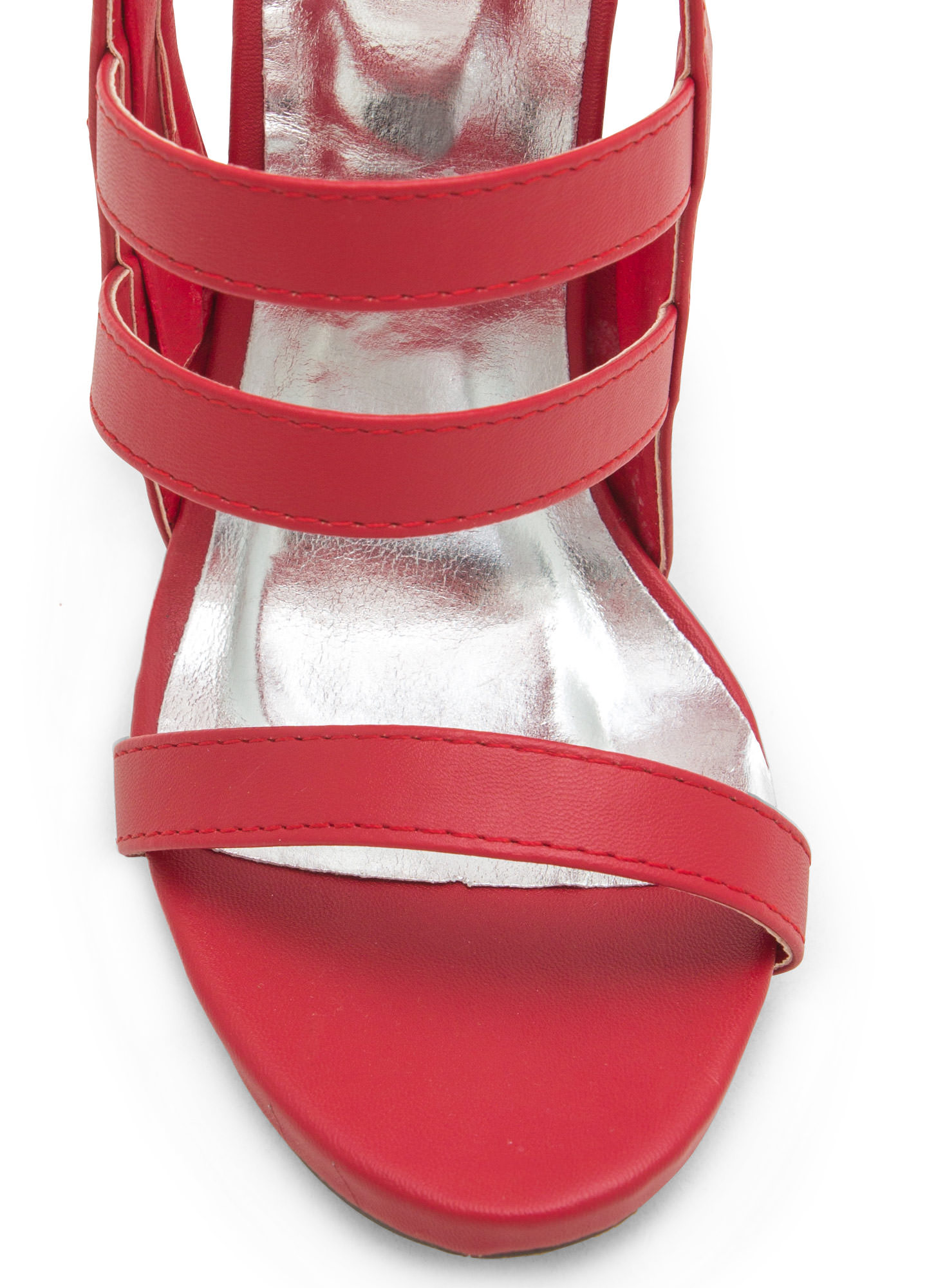 Give The Shaft Strappy Cut-Out Heels RED