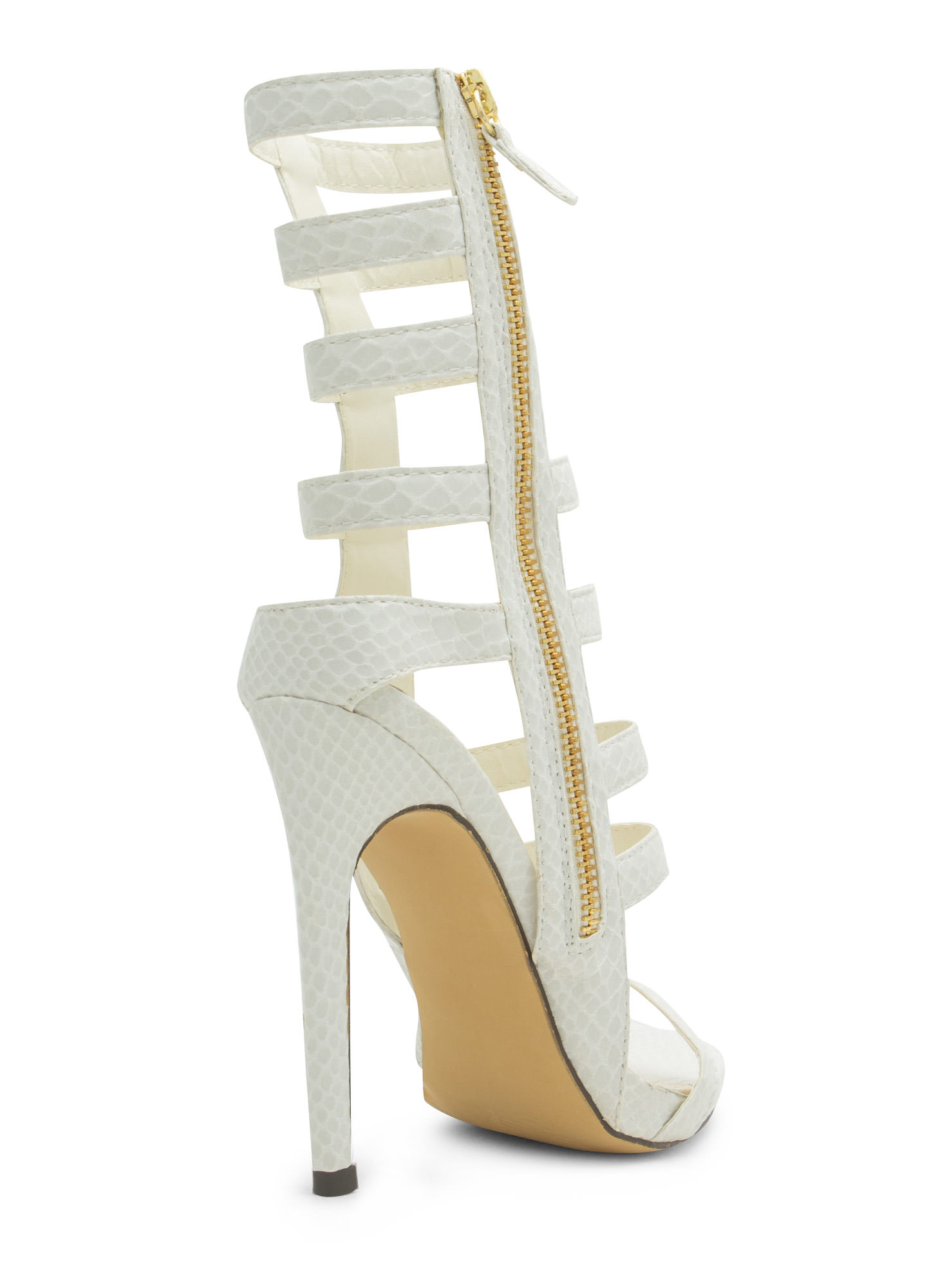 Give The Shaft Strappy Cut-Out Heels WHITE