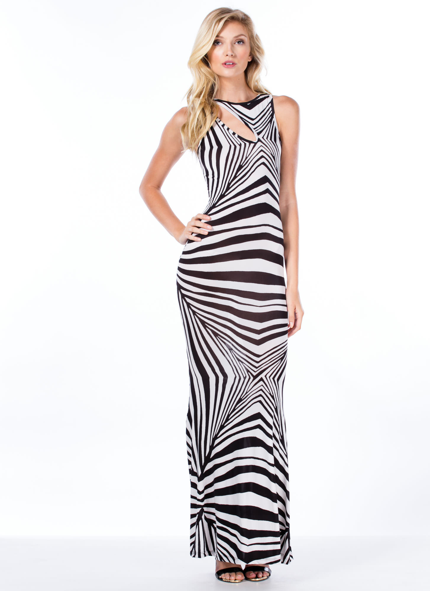 Hypnotize Me Cut-Out Mermaid Maxi BLKWHT