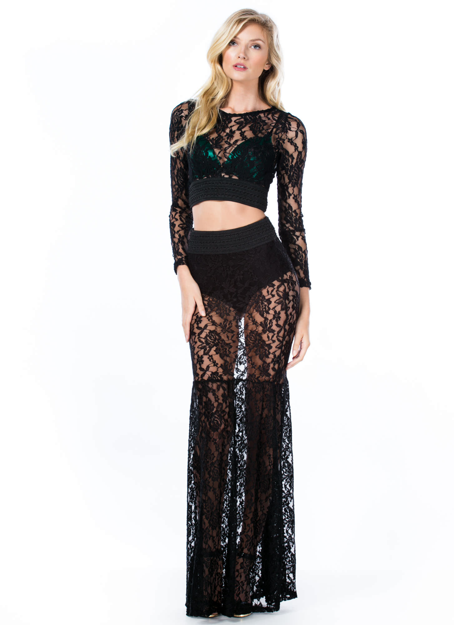 Lace Go All The Way Cropped Top BLACK