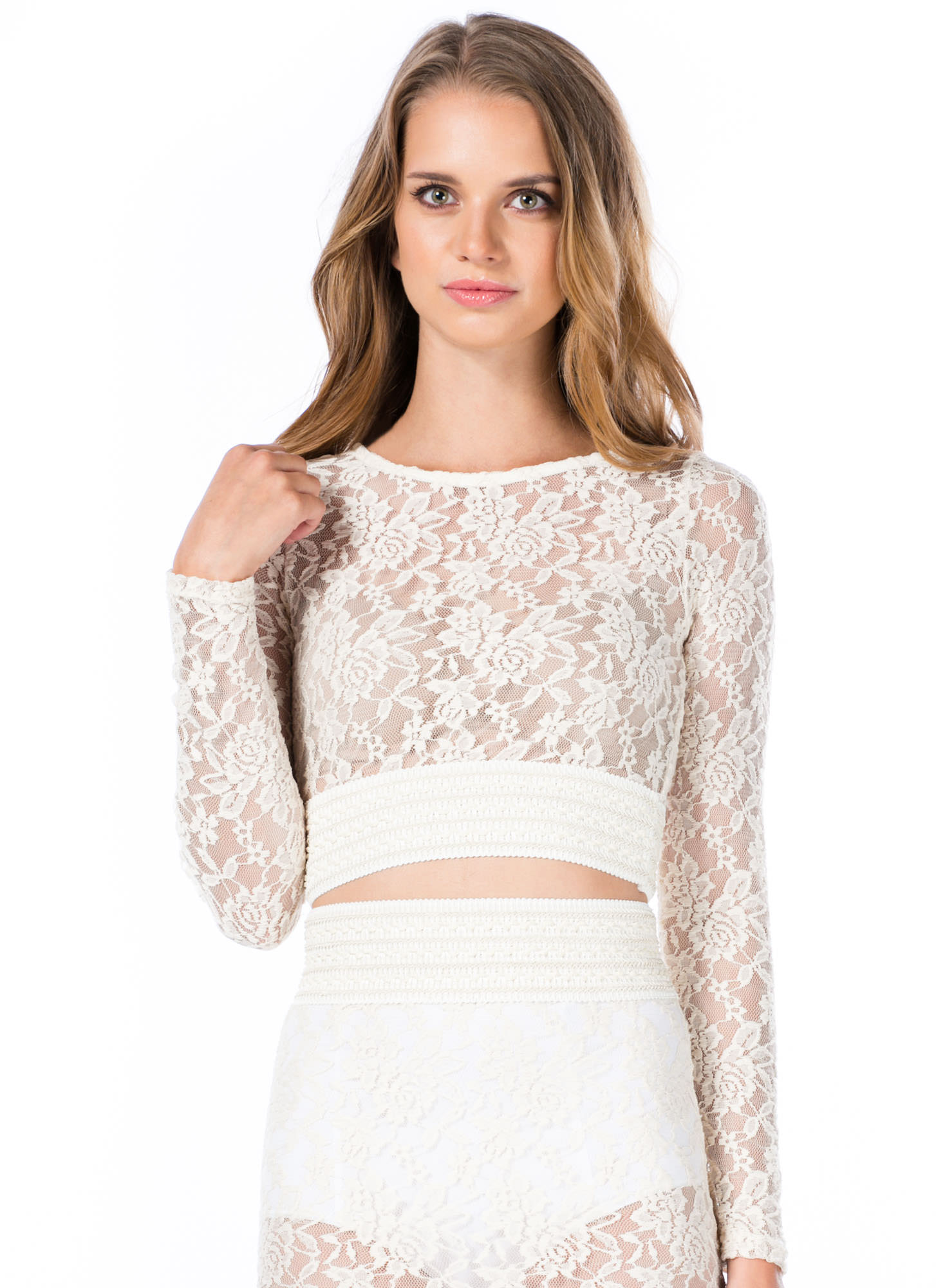Lace Go All The Way Cropped Top NATURAL