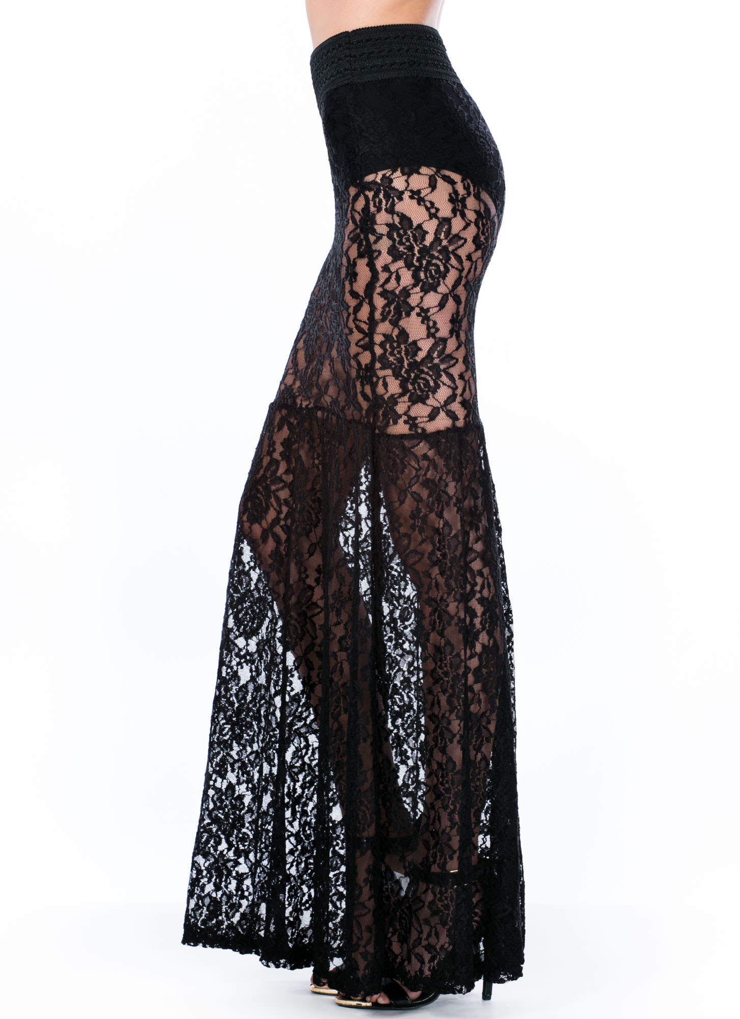 Lace Go All The Way Mermaid Maxi Skirt BLACK