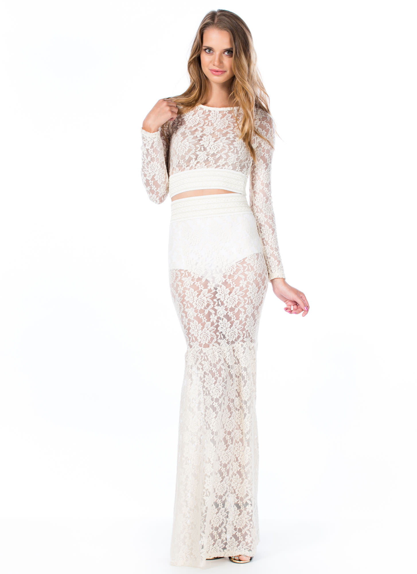 Lace Go All The Way Mermaid Maxi Skirt NATURAL (Final Sale)