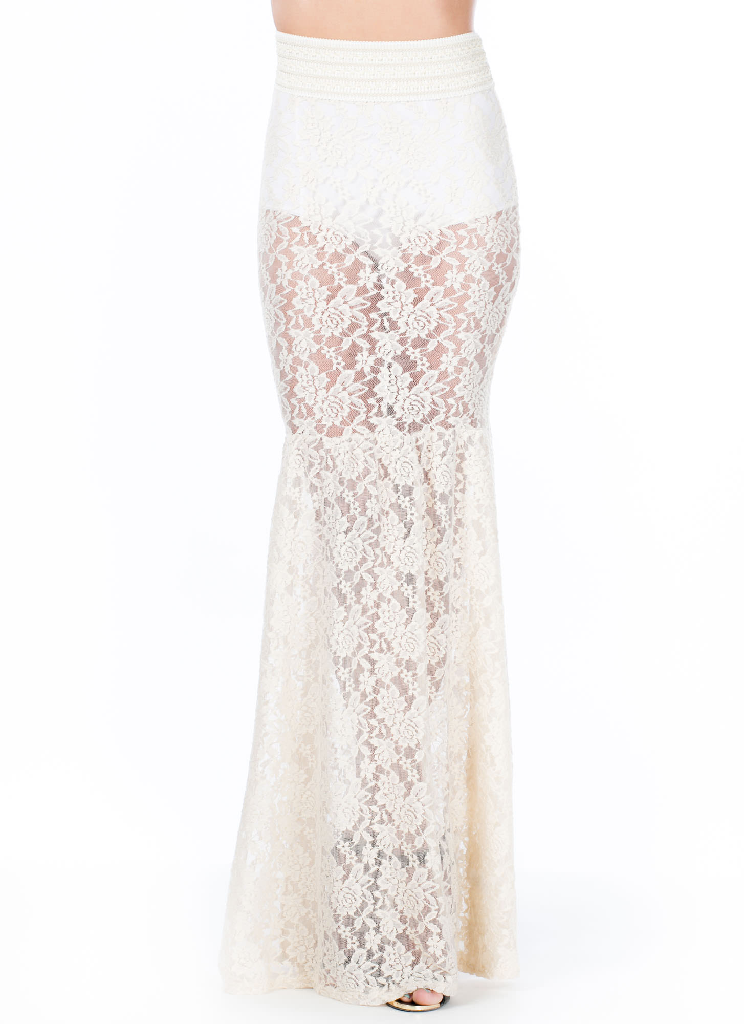 Lace Go All The Way Mermaid Maxi Skirt NATURAL