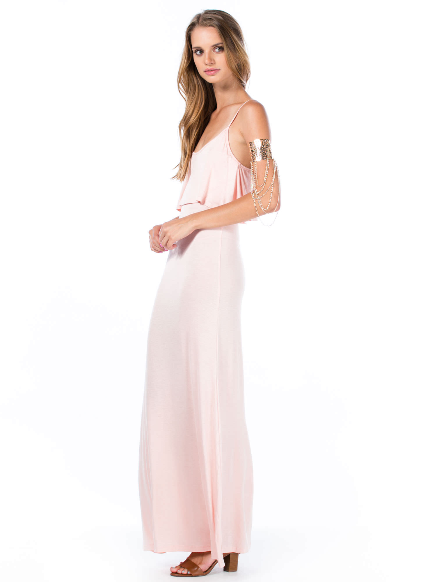 Tier-ly Beloved Strappy Maxi Dress PEACH