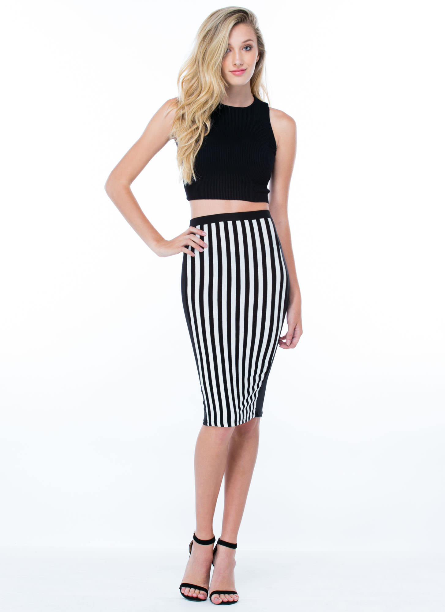 Stripe A Deal Paneled Pencil Skirt BLACK