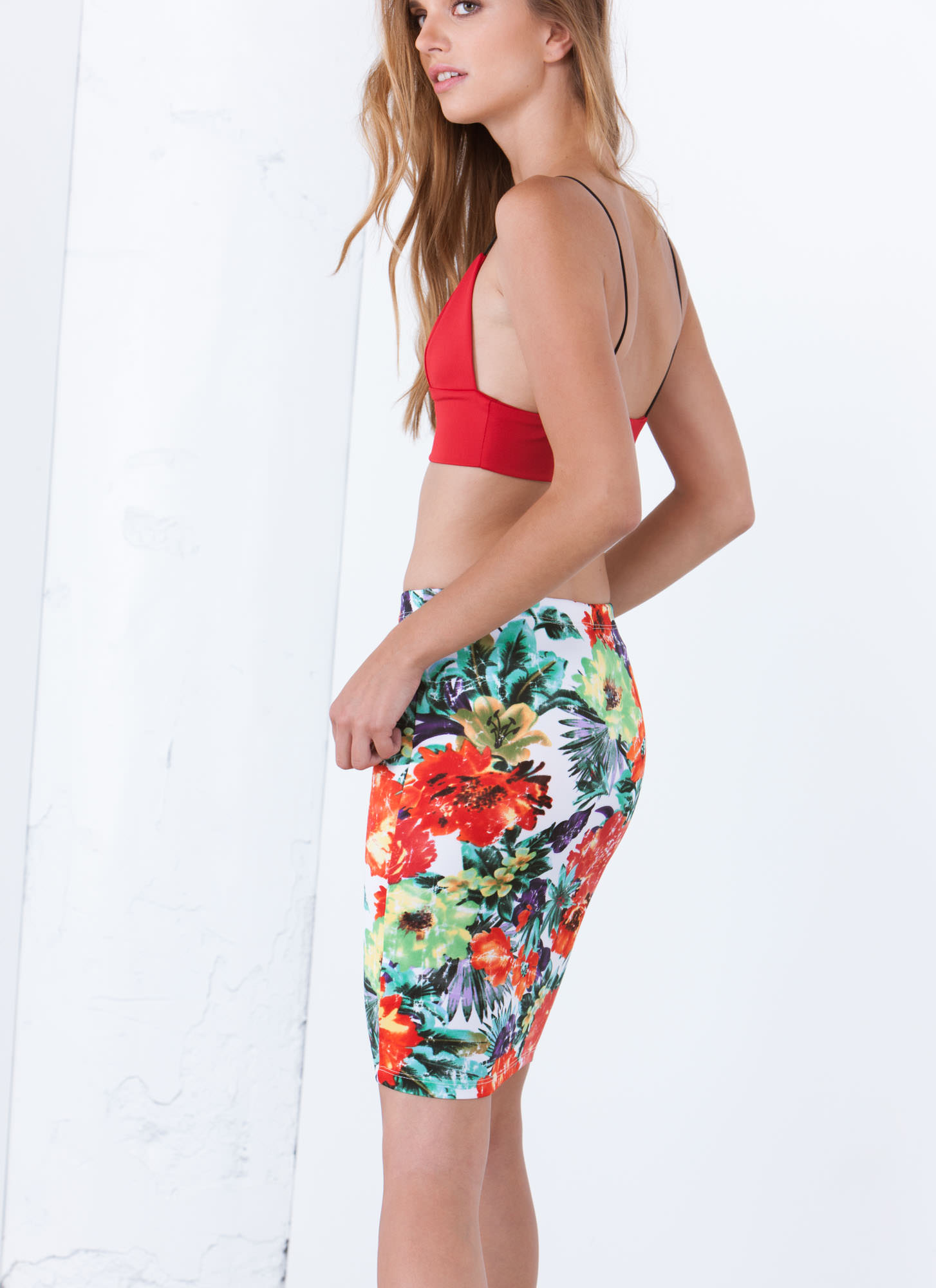 Tropical Weathered Floral Pencil Skirt ORANGEMULTI