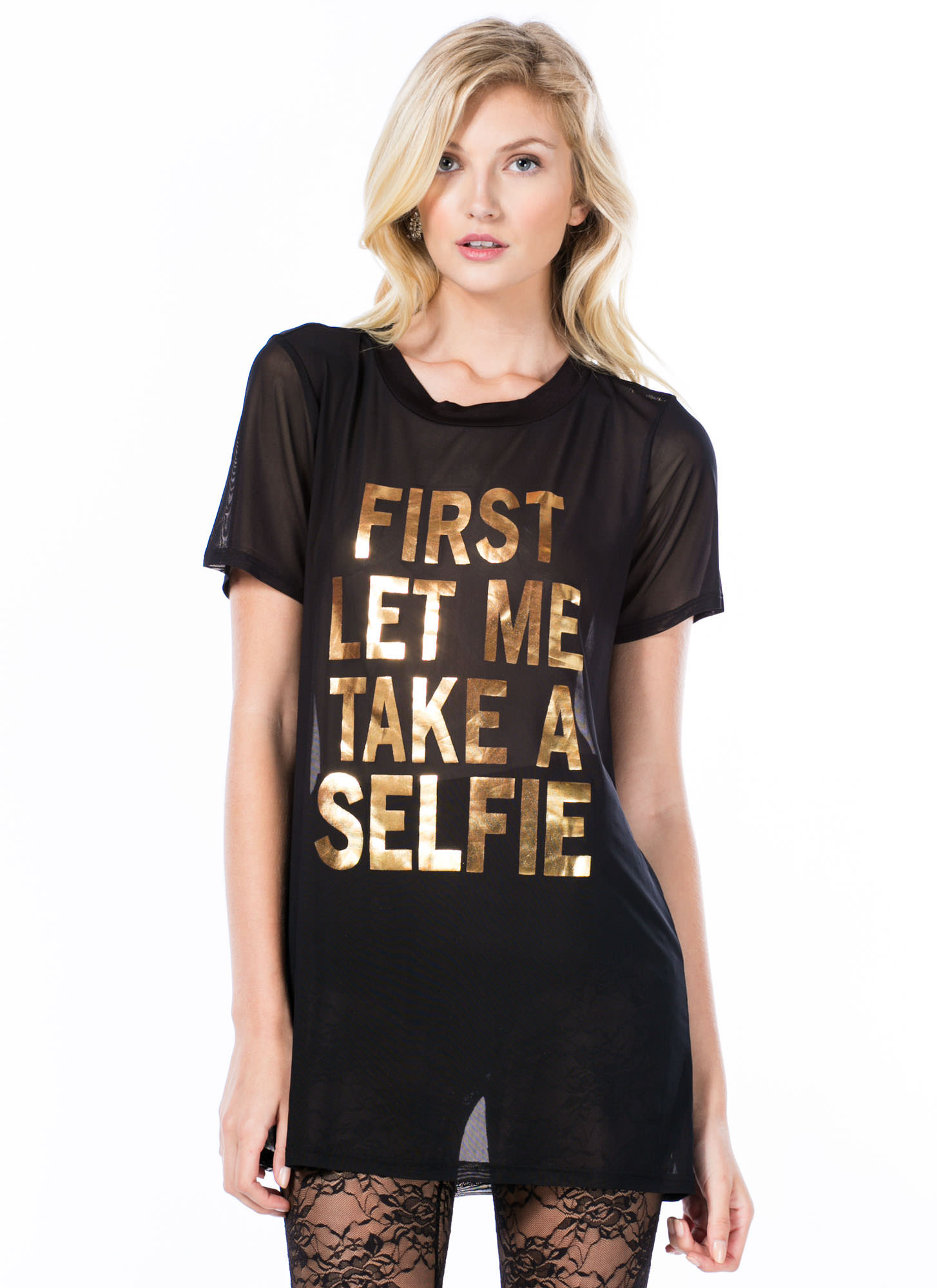 First Let Me Take A Selfie Oversized Tee BLACKGOLD