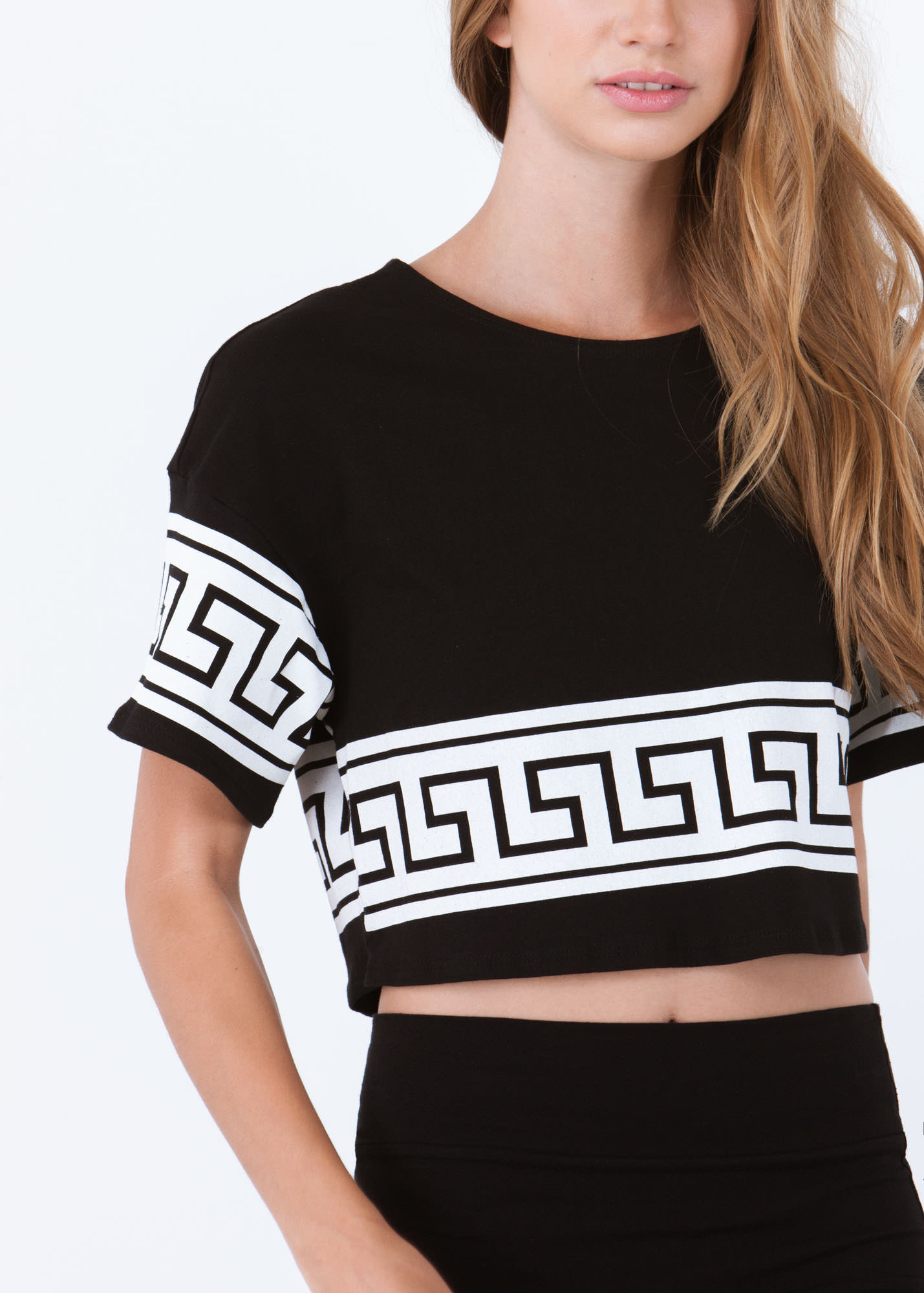 Geo Jane Boxy Cropped Tee BLACK
