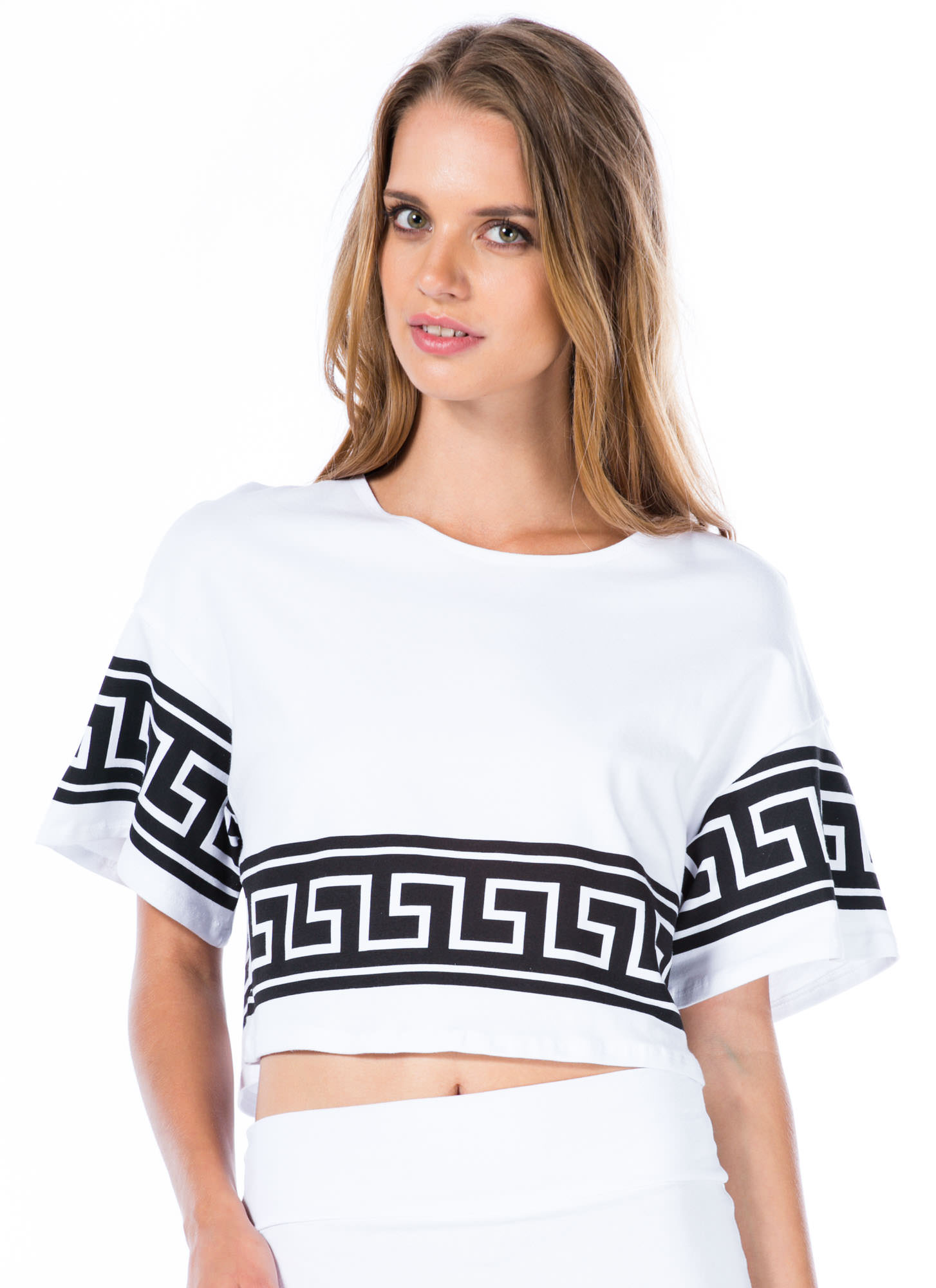 Geo Jane Boxy Cropped Tee WHITE