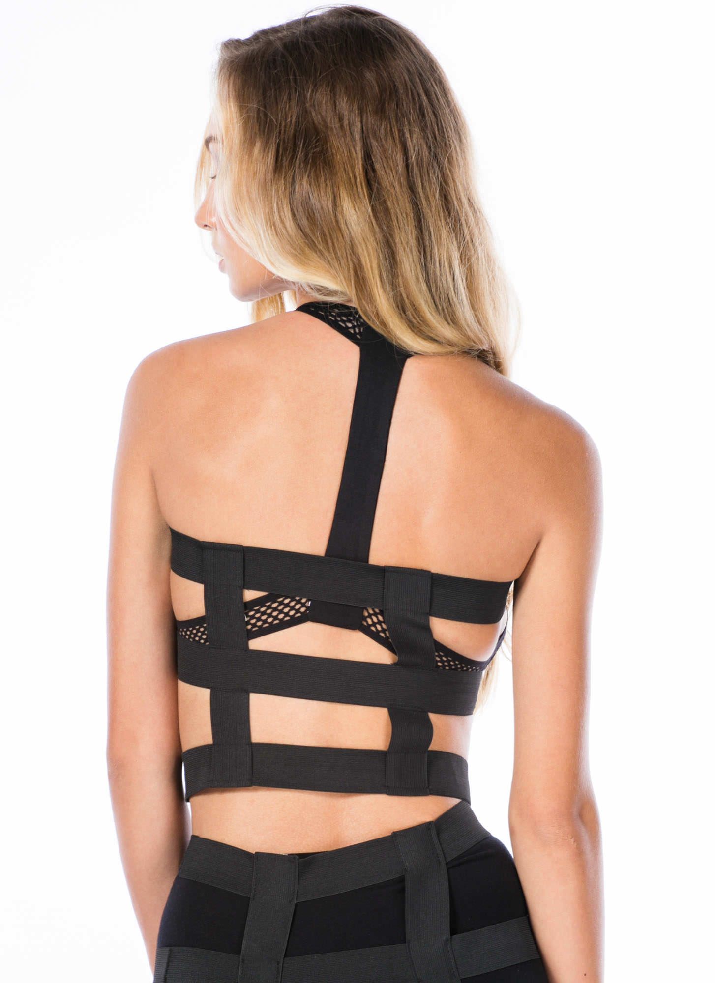Barely There Caged Bandage Tube Top BLACK
