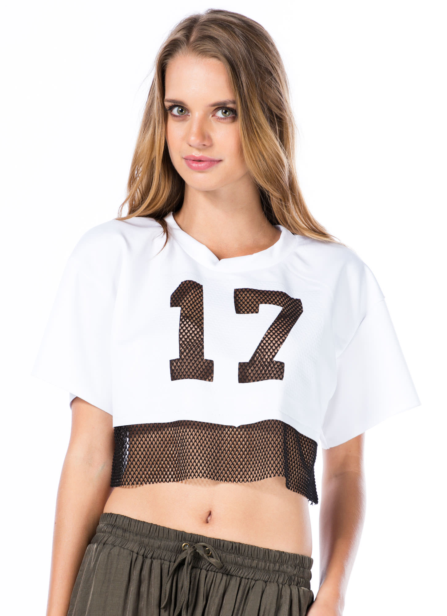 Good Sport Number 17 Cropped Tee WHITE