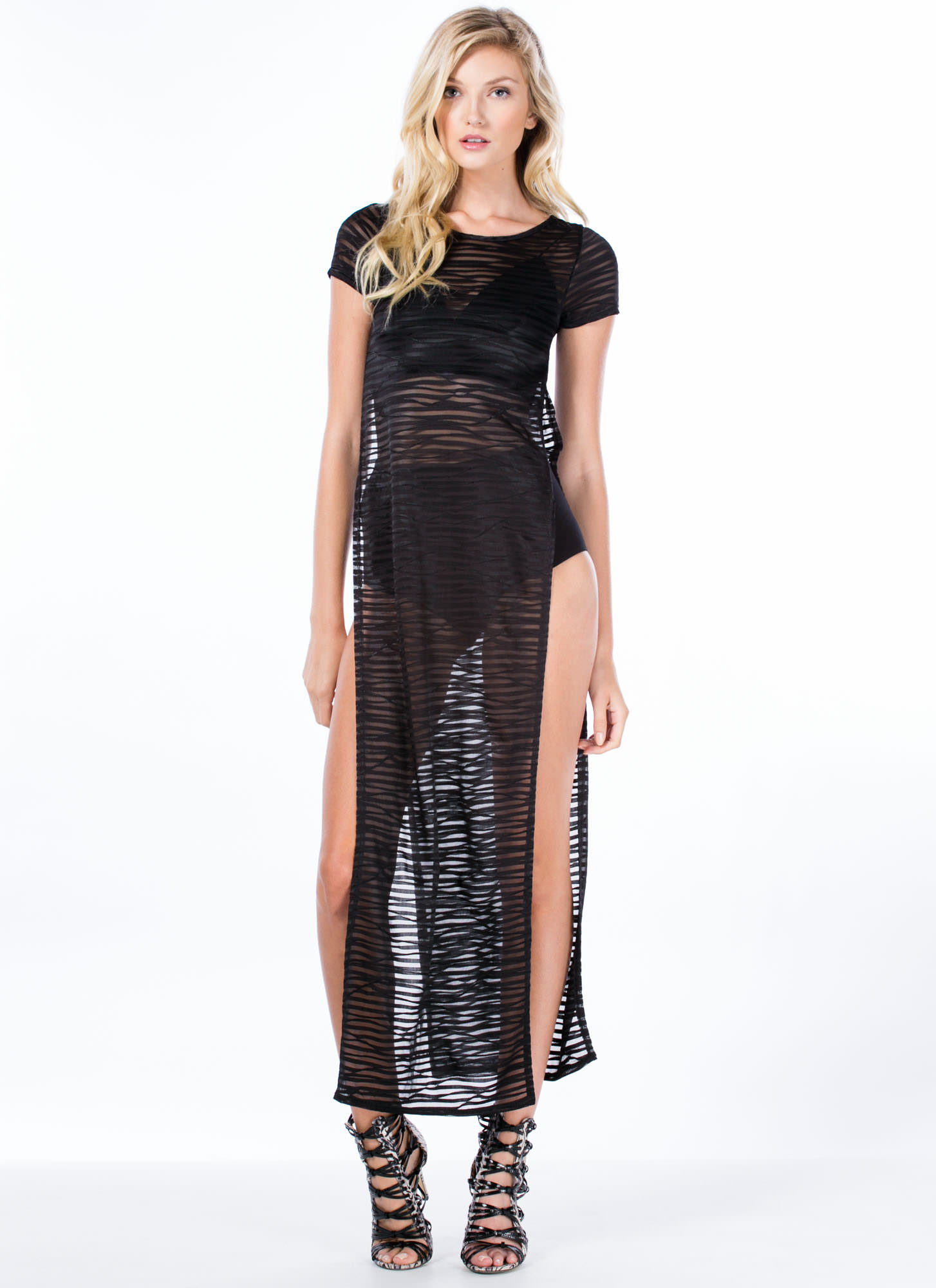Swirled 'N Shadow Striped Maxi Dress BLACK
