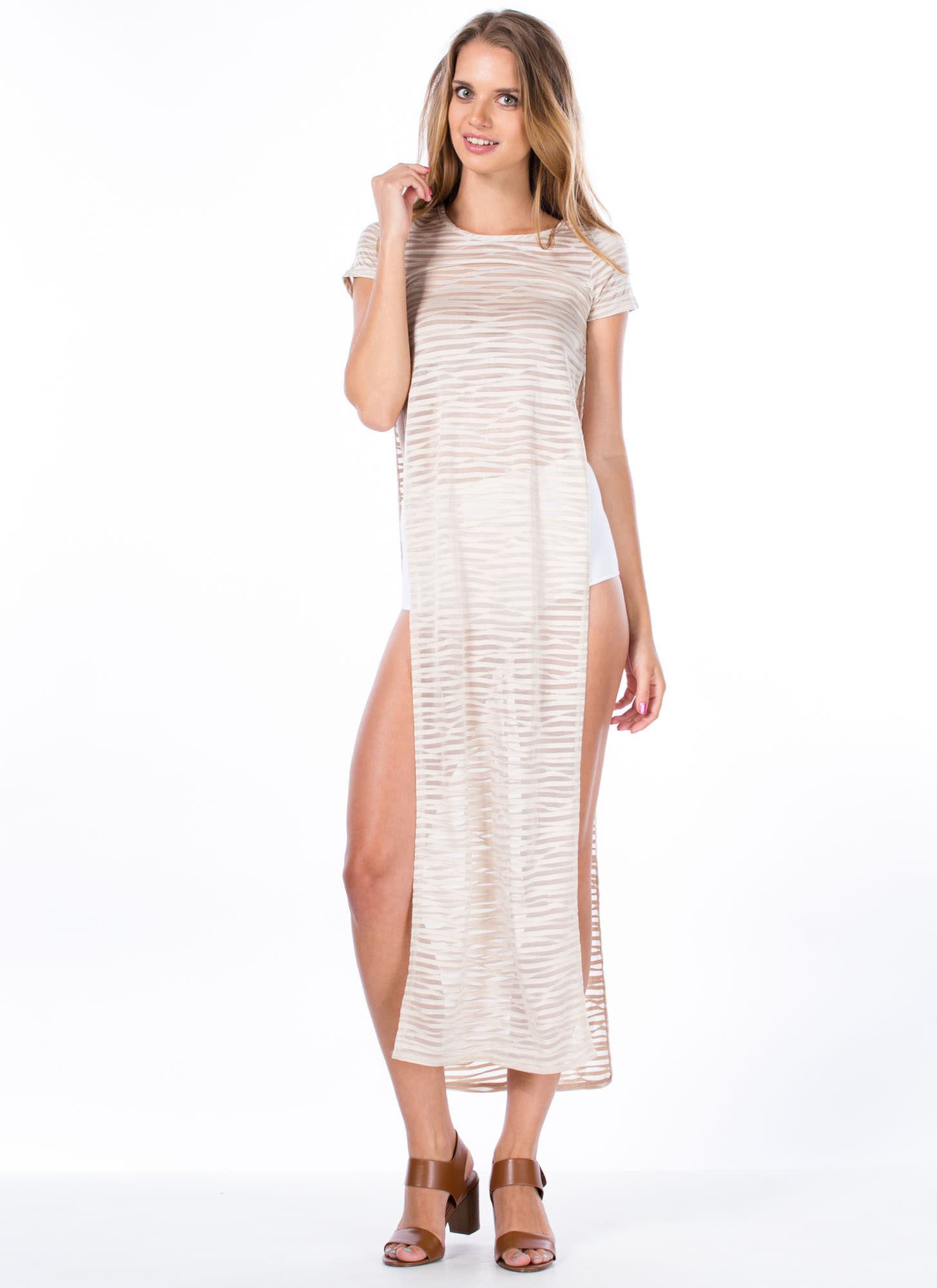 Swirled 'N Shadow Striped Maxi Dress TAUPE