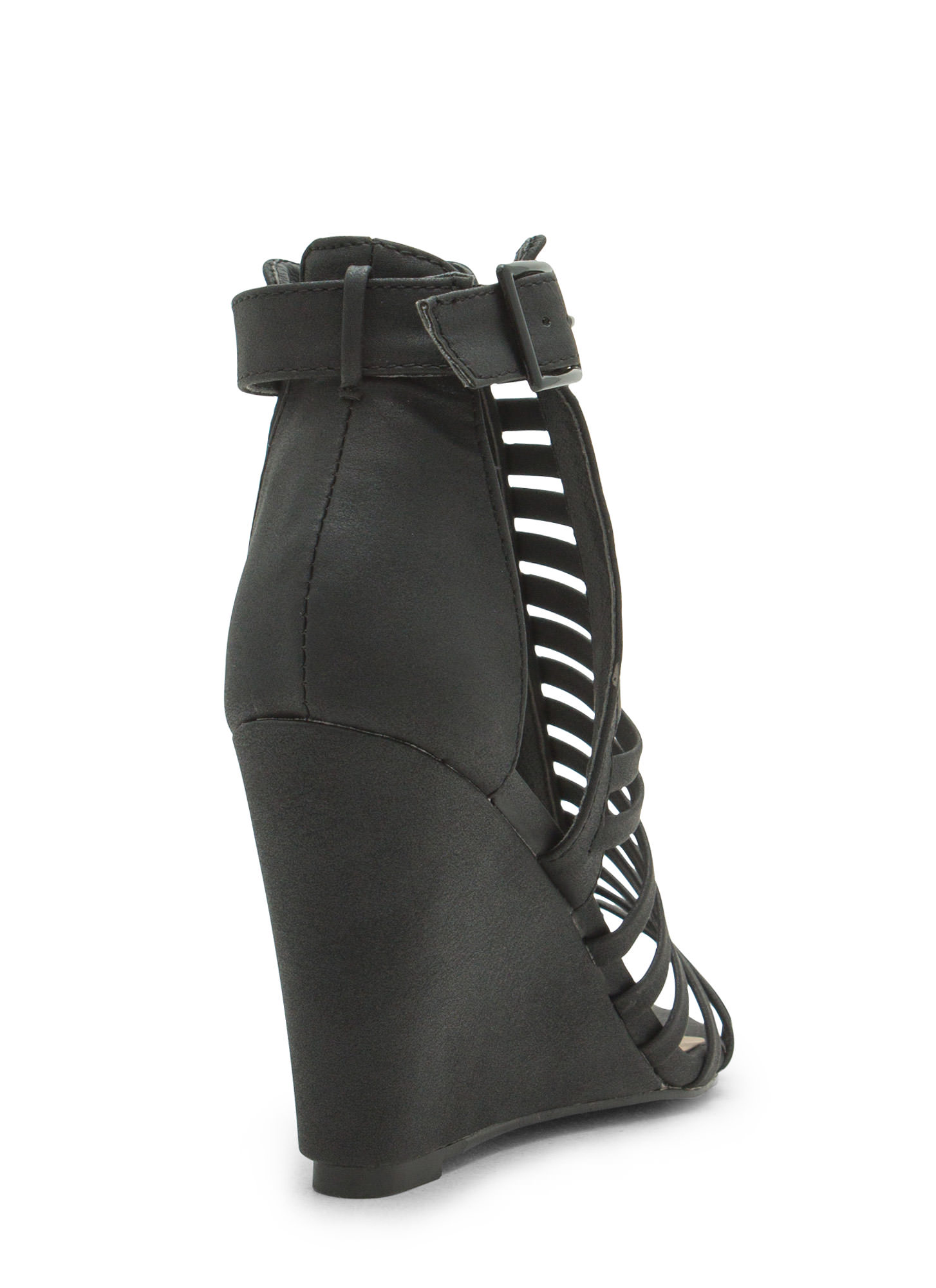 Love Is Blinds Strappy Cut-Out Wedges BLACK