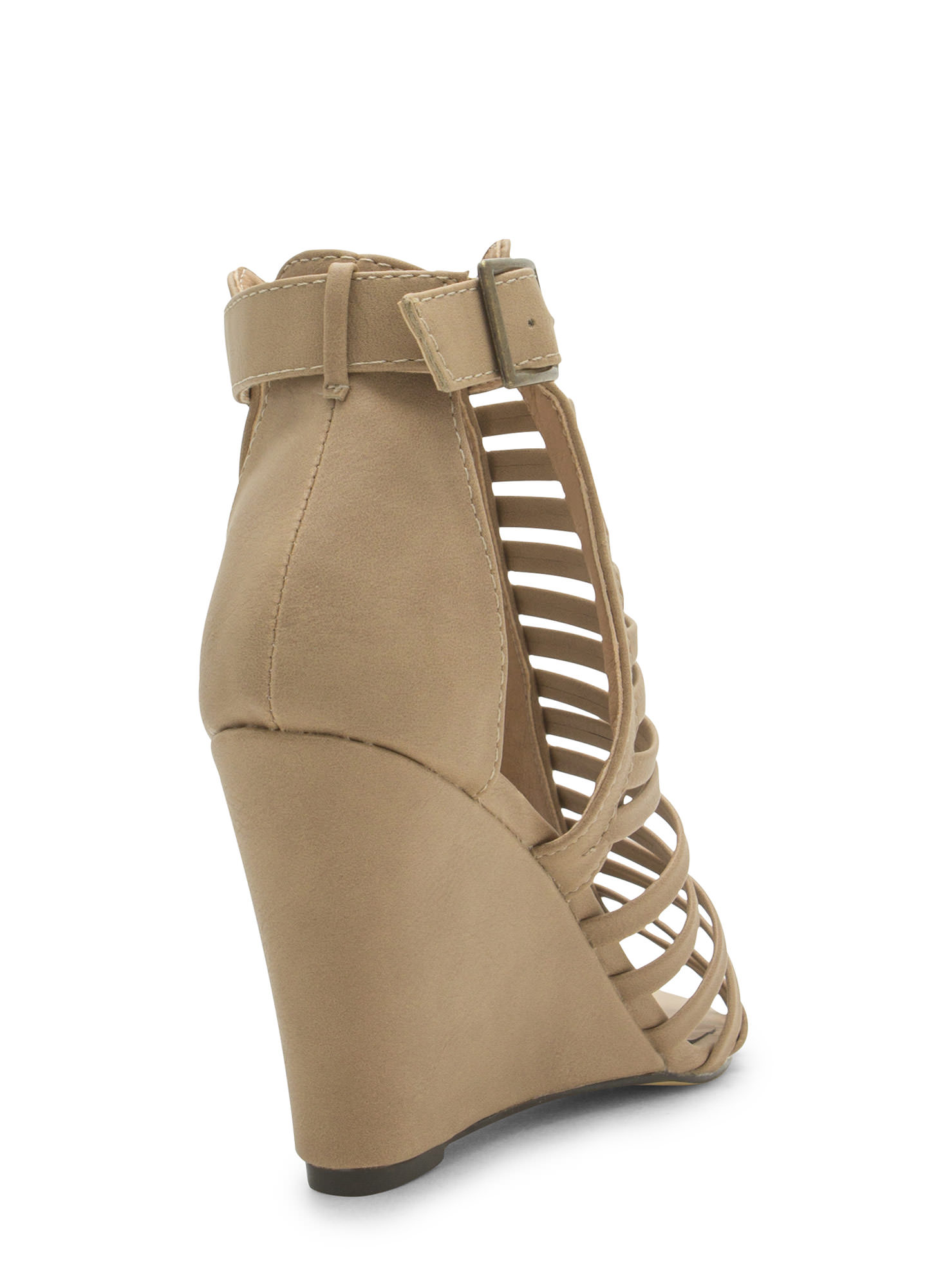 Love Is Blinds Strappy Cut-Out Wedges NUDE
