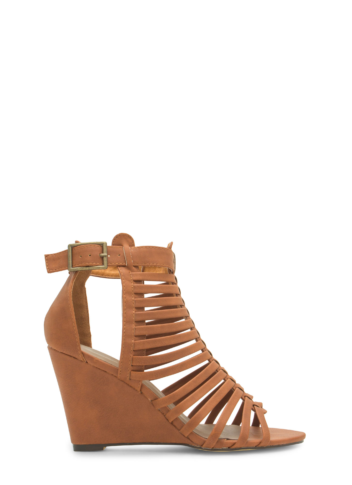 Love Is Blinds Strappy Cut-Out Wedges TAN