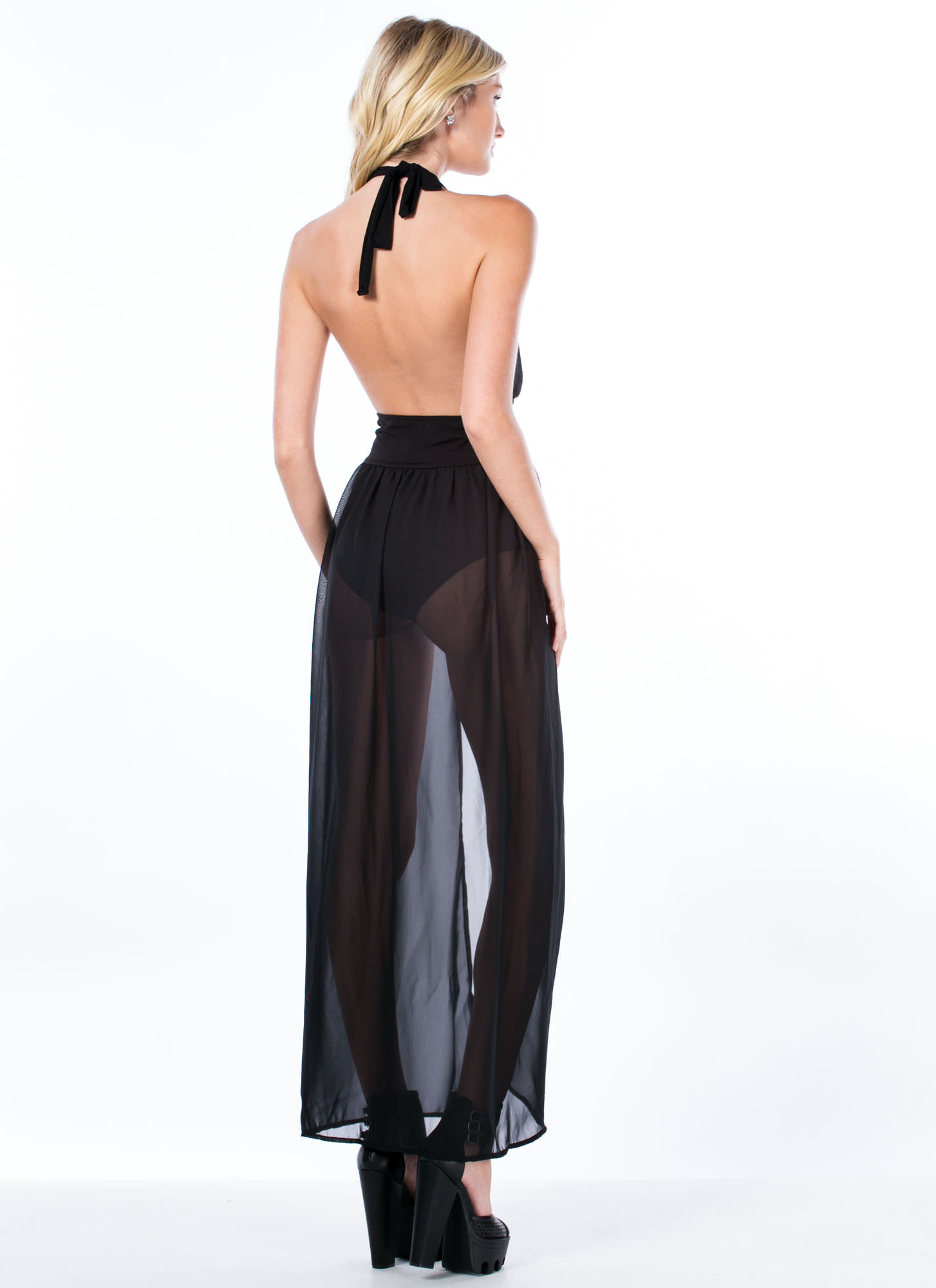 Bodysuit Halter Maxi Dress BLACK
