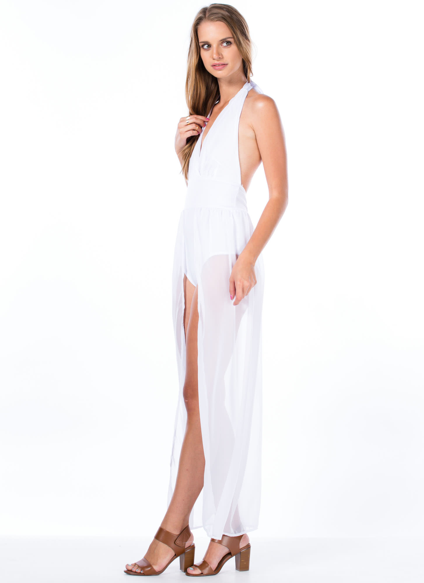 Bodysuit Halter Maxi Dress WHITE
