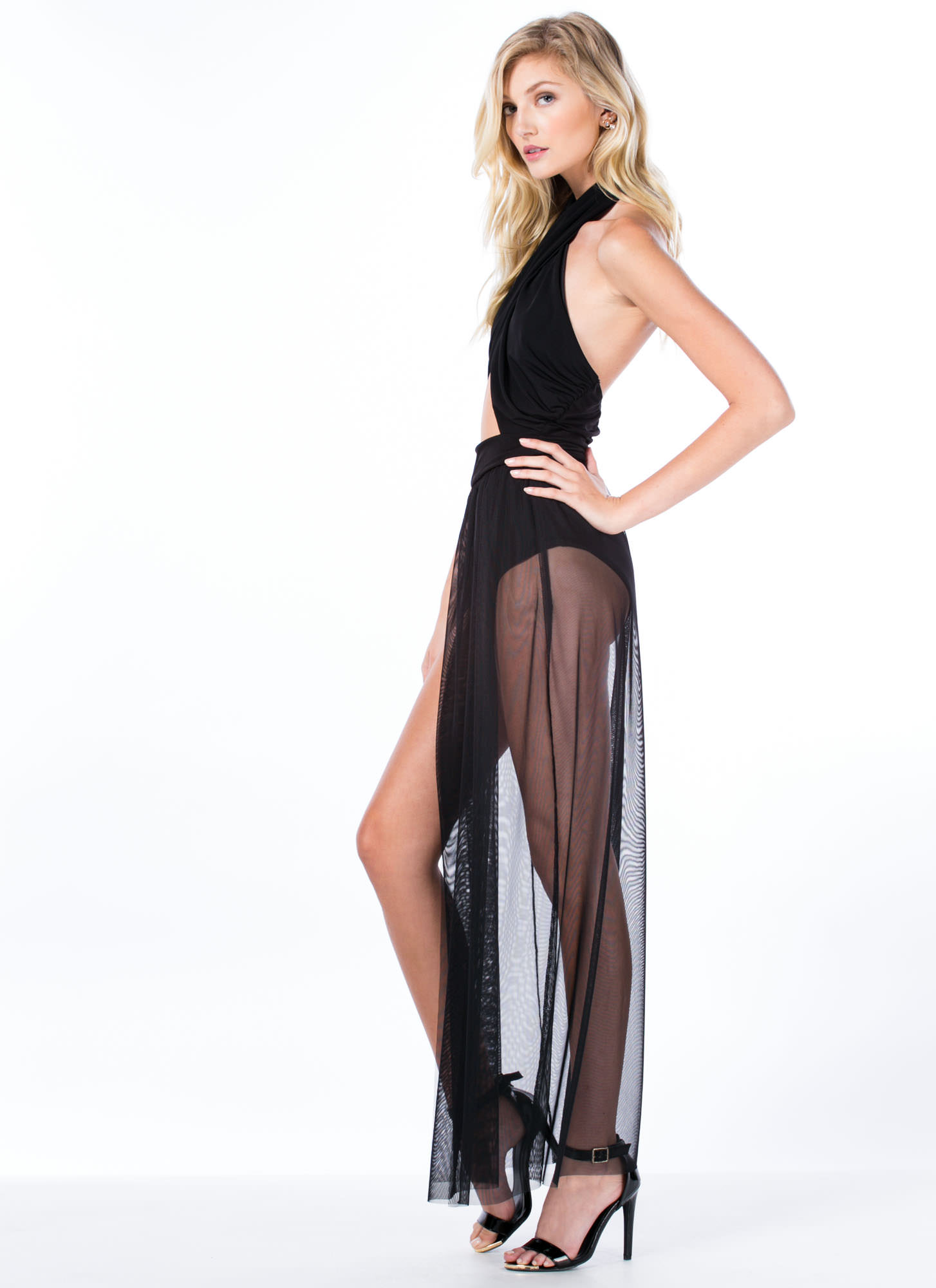 Bodysuit Crisscrossed Maxi Dress BLACK