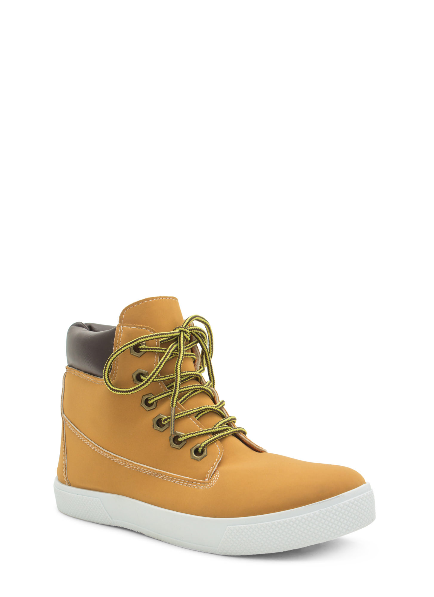 Faux Nubuck High Top Sneakers TAN