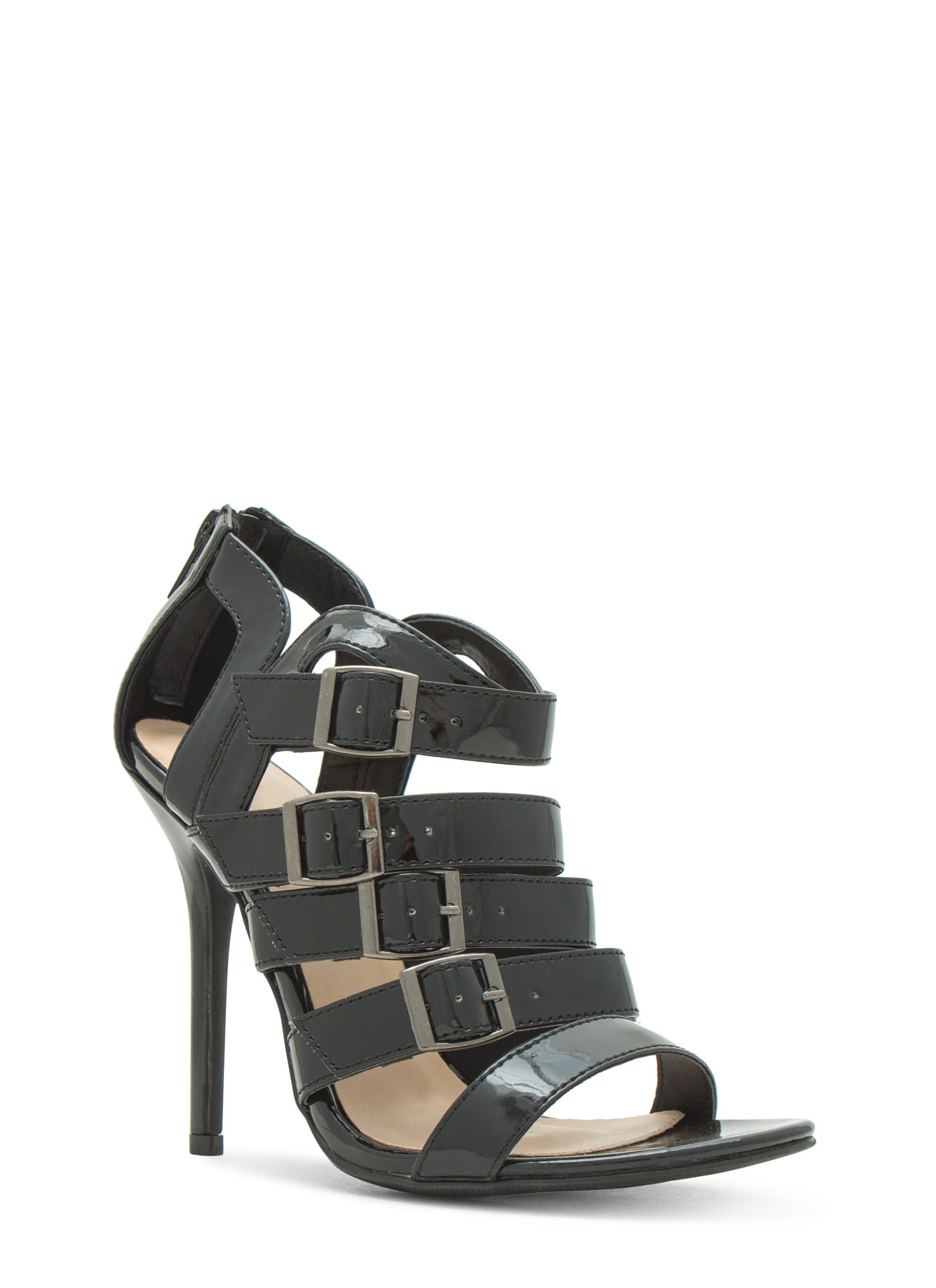 Ladder To The Top Strappy Heels BLACK