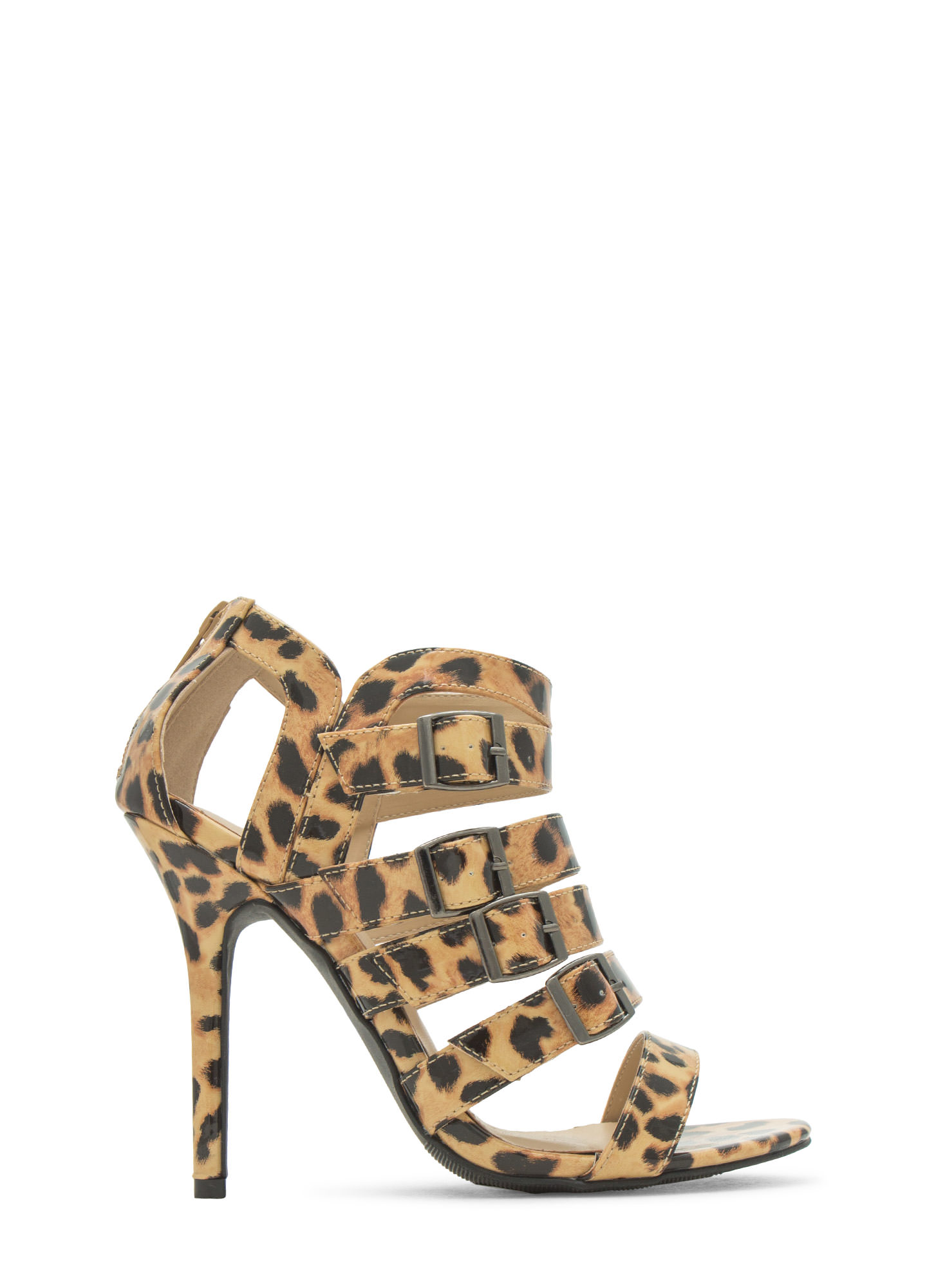 Ladder To The Top Strappy Heels LEOPARD