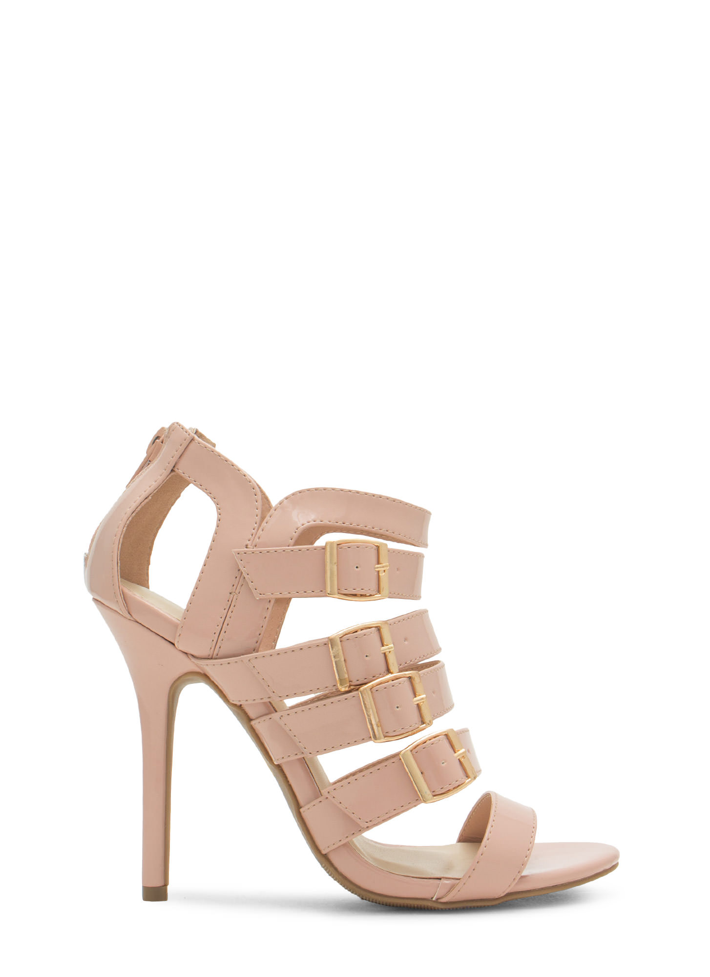 Ladder To The Top Strappy Heels NUDE