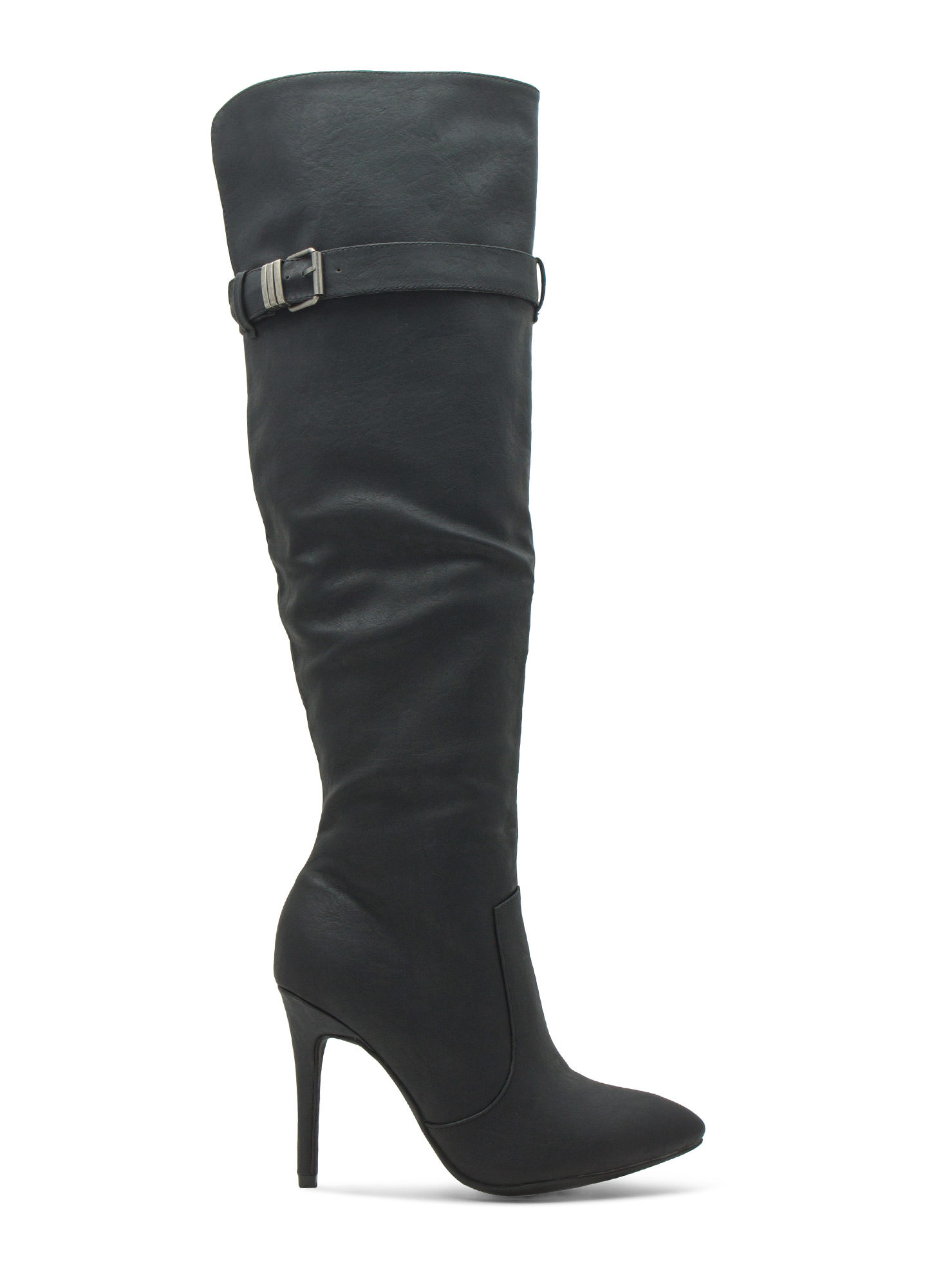 Faux Leather Over-The-Knee Stiletto Boots BLACK
