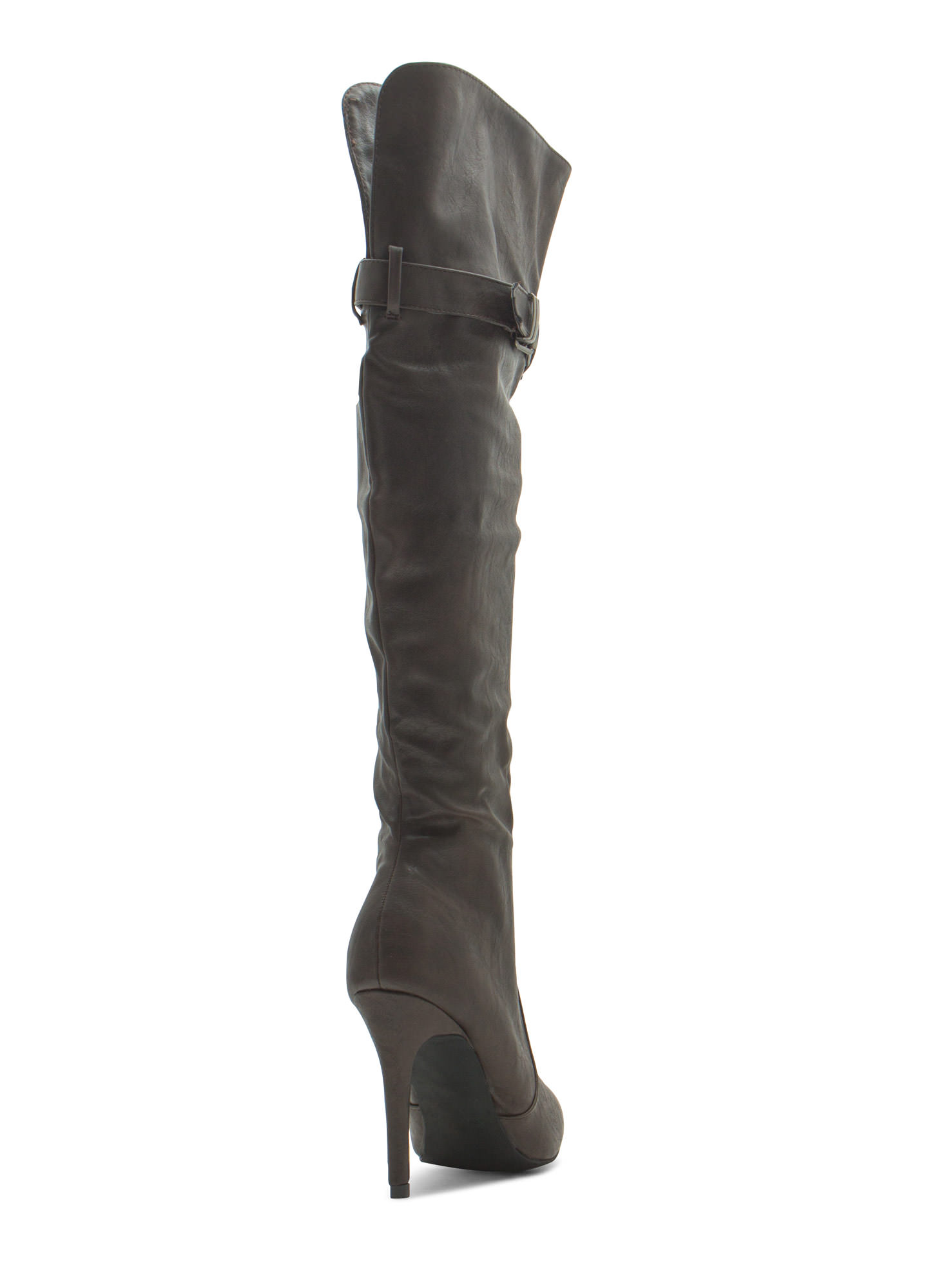 Faux Leather Over-The-Knee Stiletto Boots BROWN