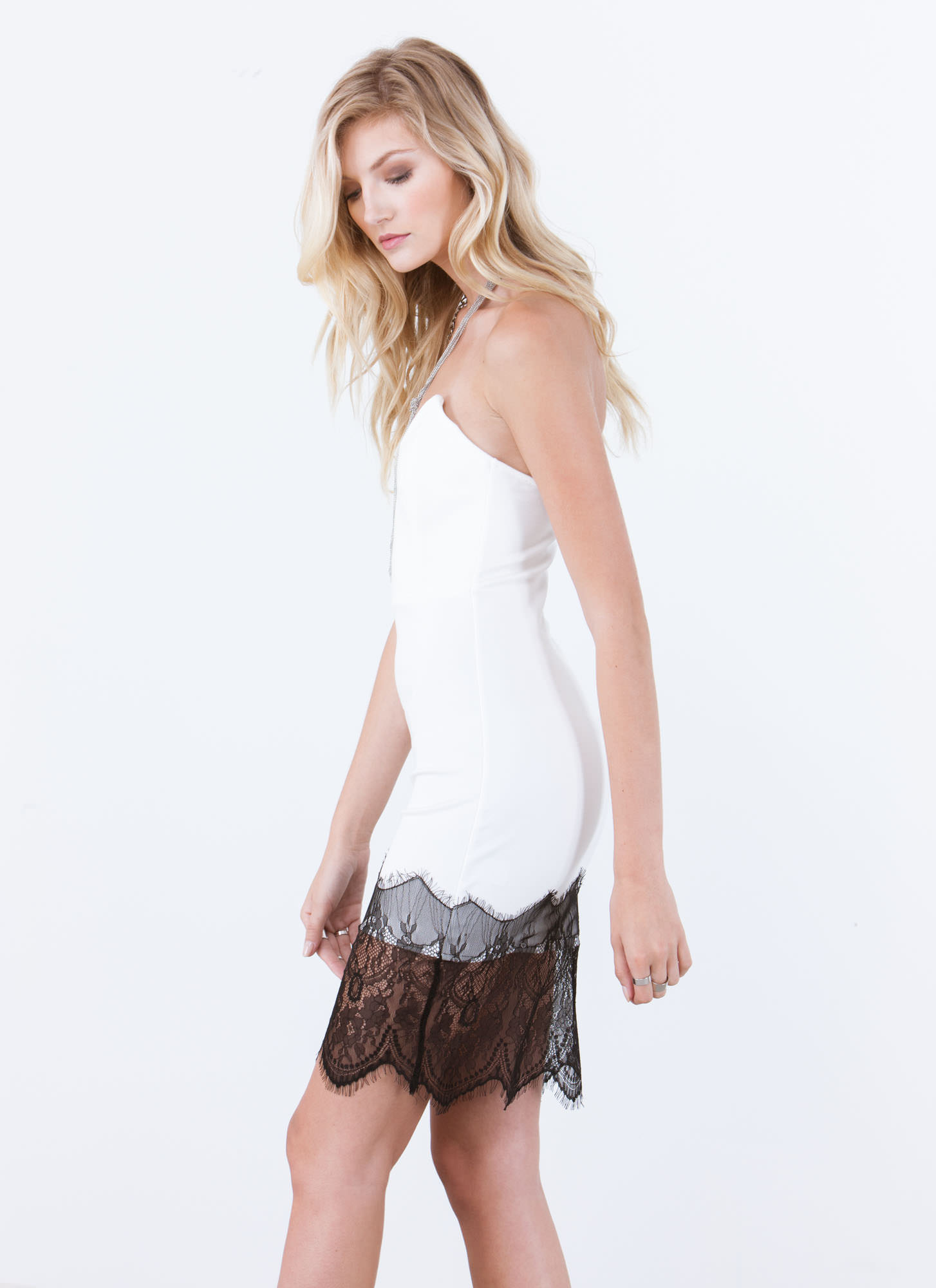Chic Date Lace Trim Bodycon Dress WHITE