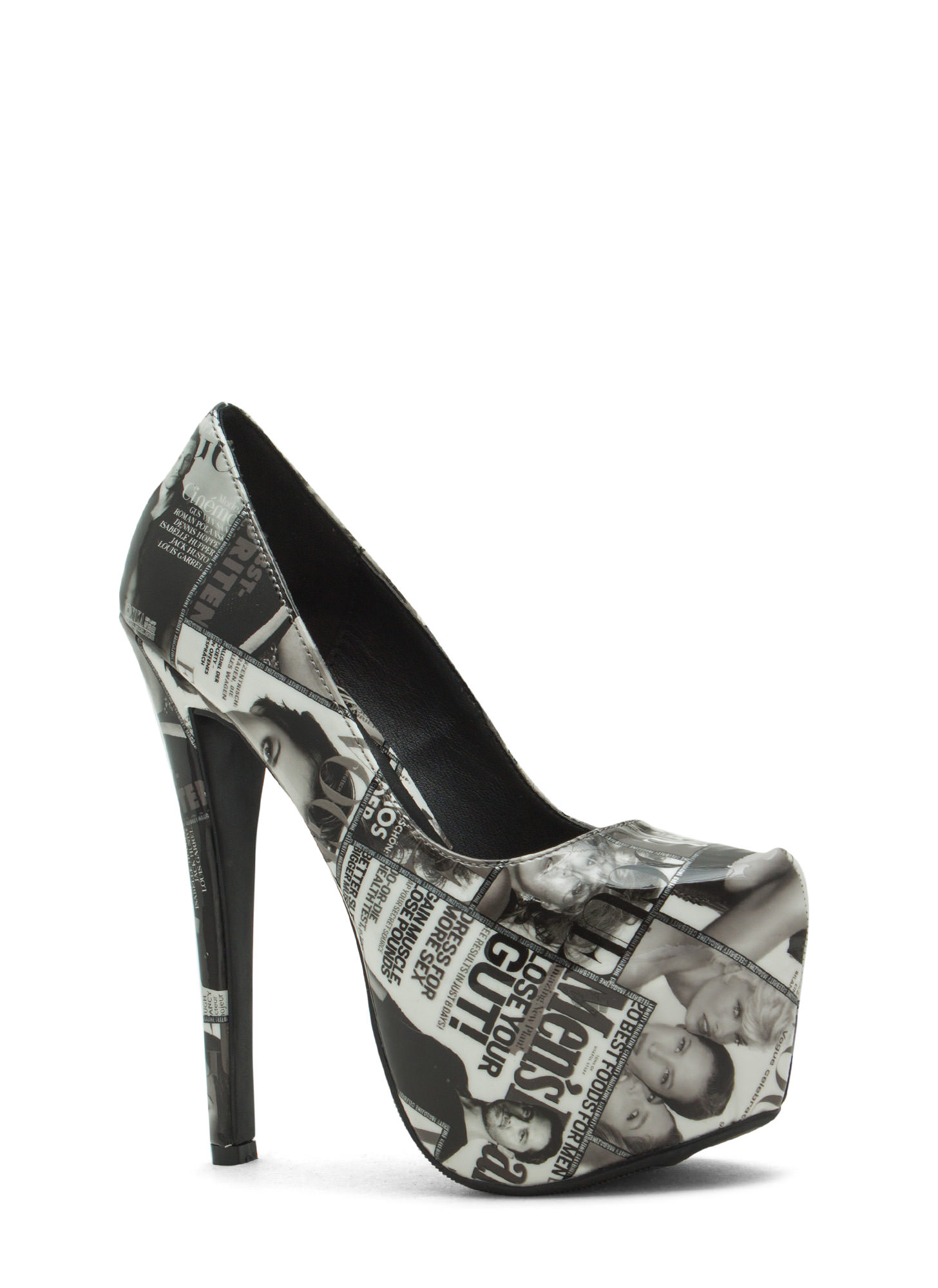 Girl On The Cover Faux Patent Heels BLACK