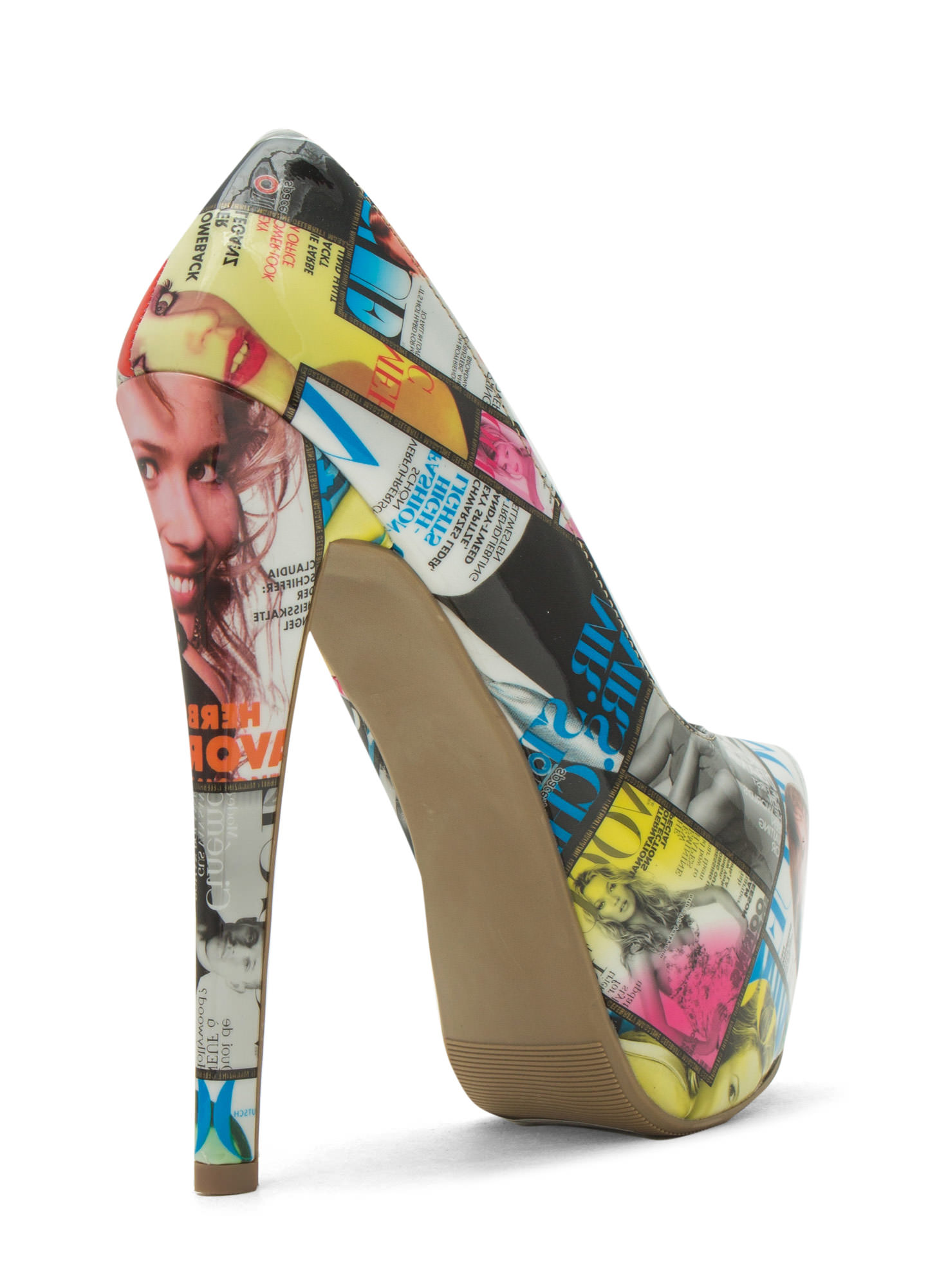 Girl On The Cover Faux Patent Heels MULTI