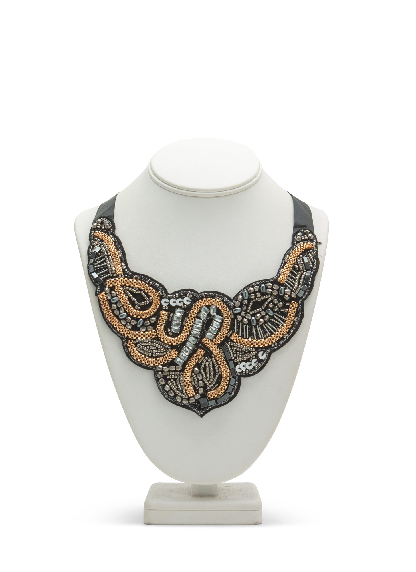 Mixed Metallic Beads 'N Chains Necklace GOLDBLK