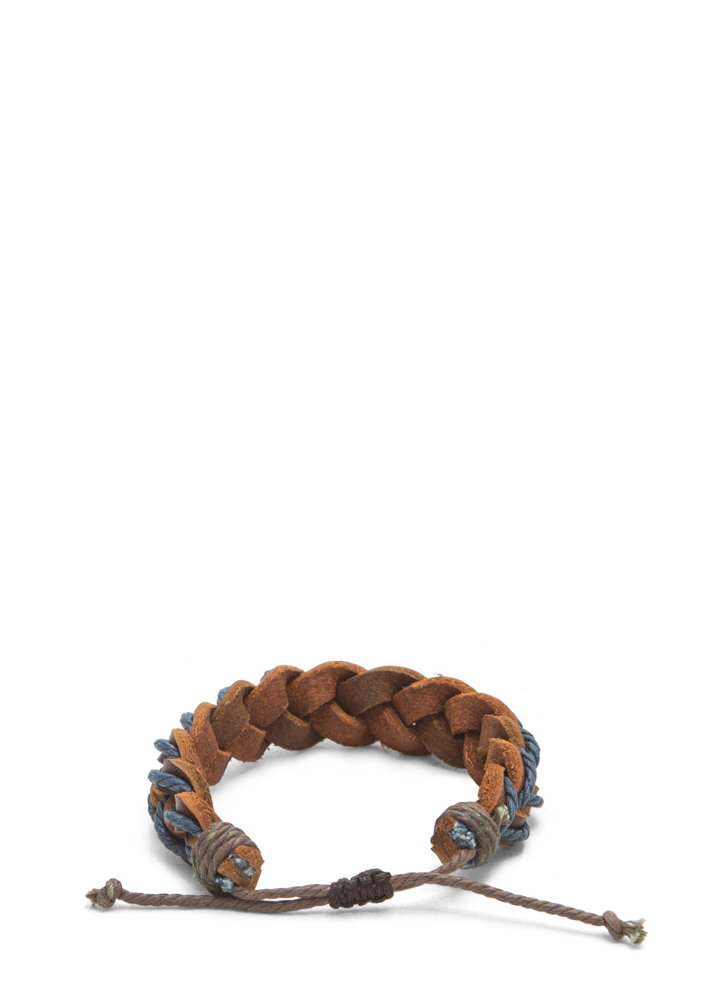 Boho Braided Faux Leather Bracelet BLUEBROWN