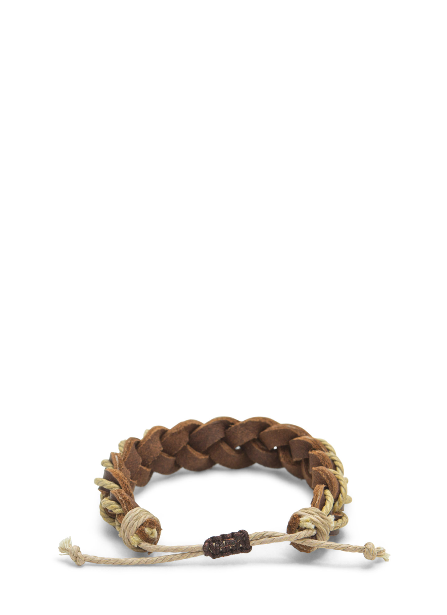 Boho Braided Faux Leather Bracelet BROWNTAUPE