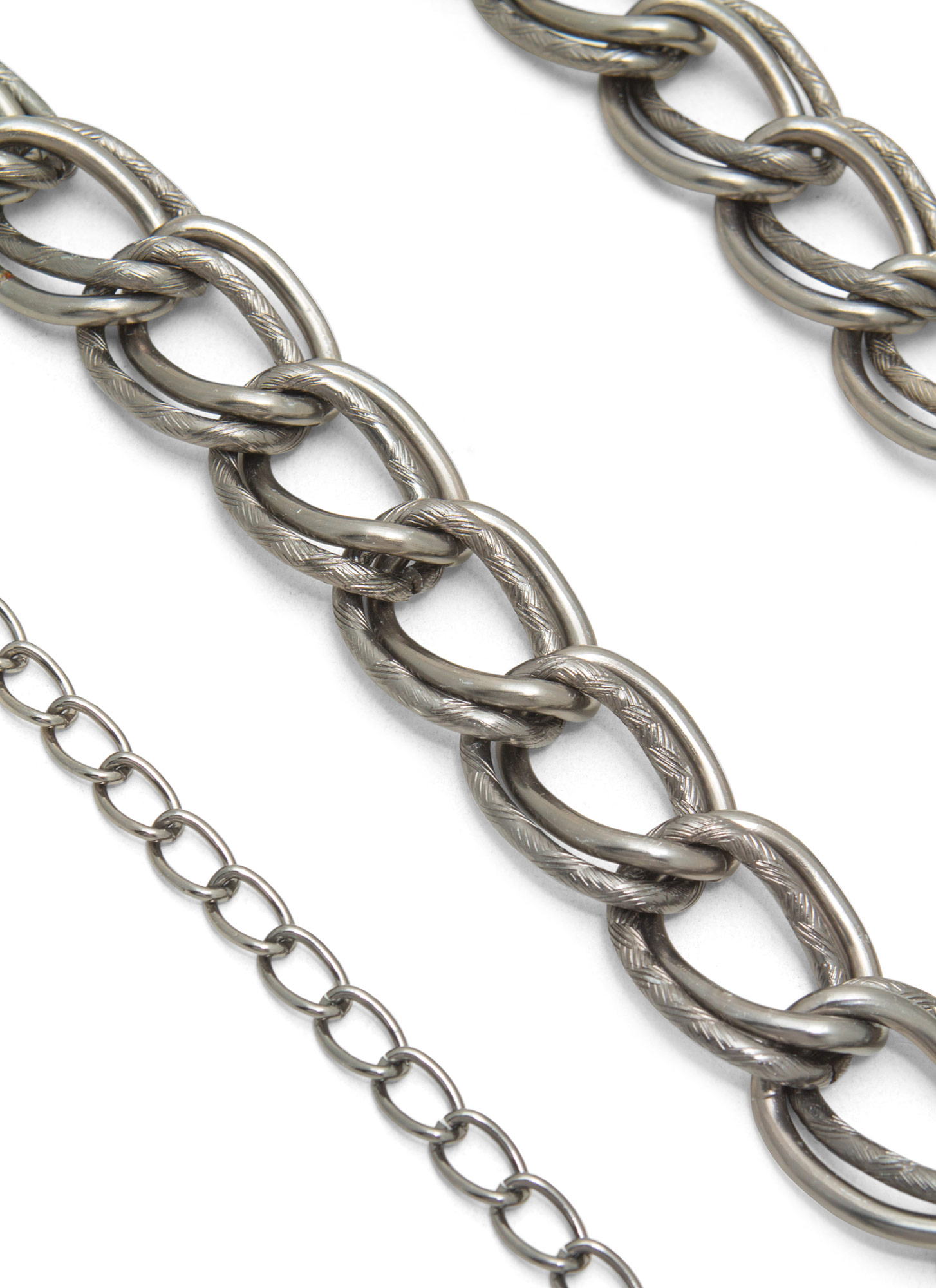Metallic Double Chain Links Belt PEWTER